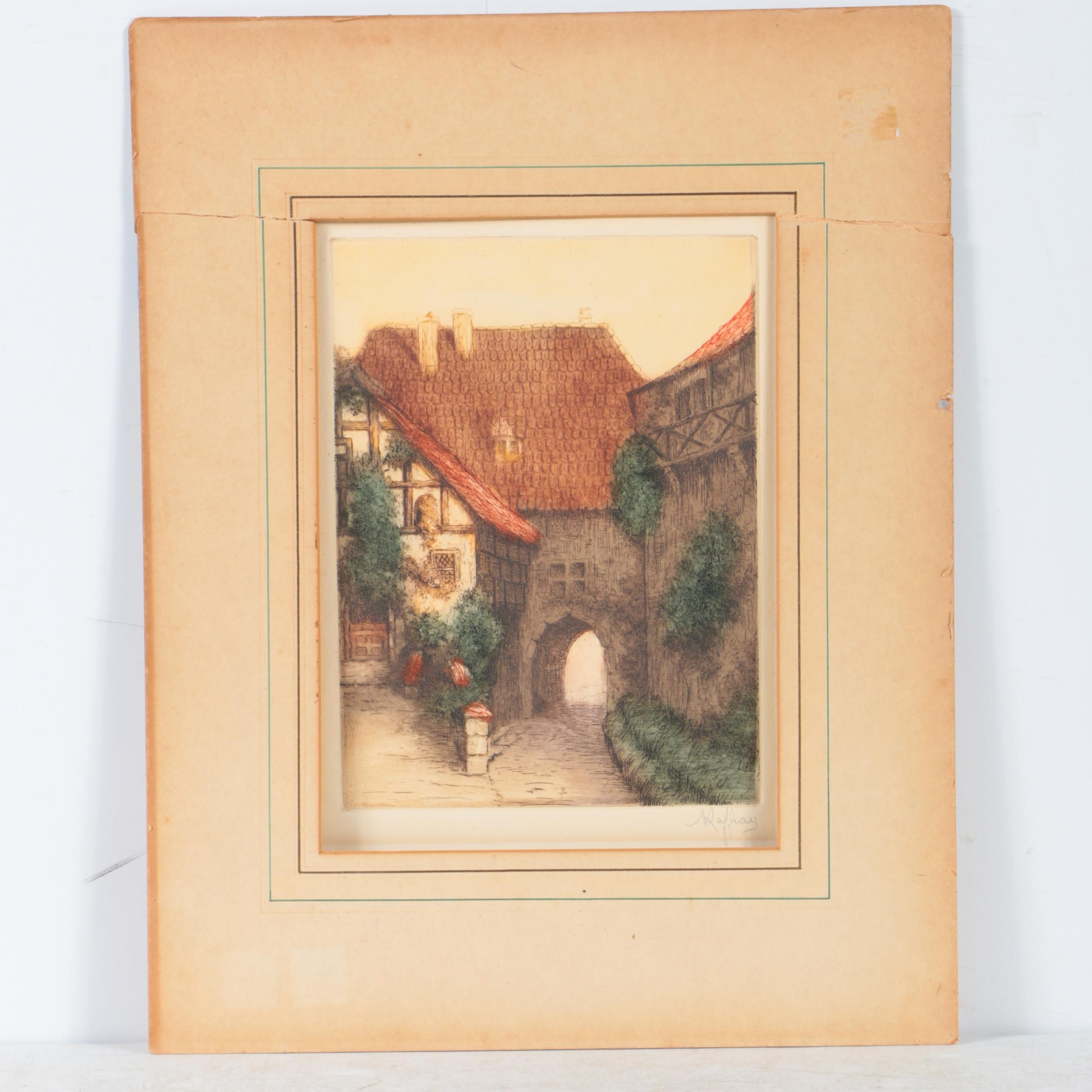 Andre Raffray Color Etching on Paper of a Village