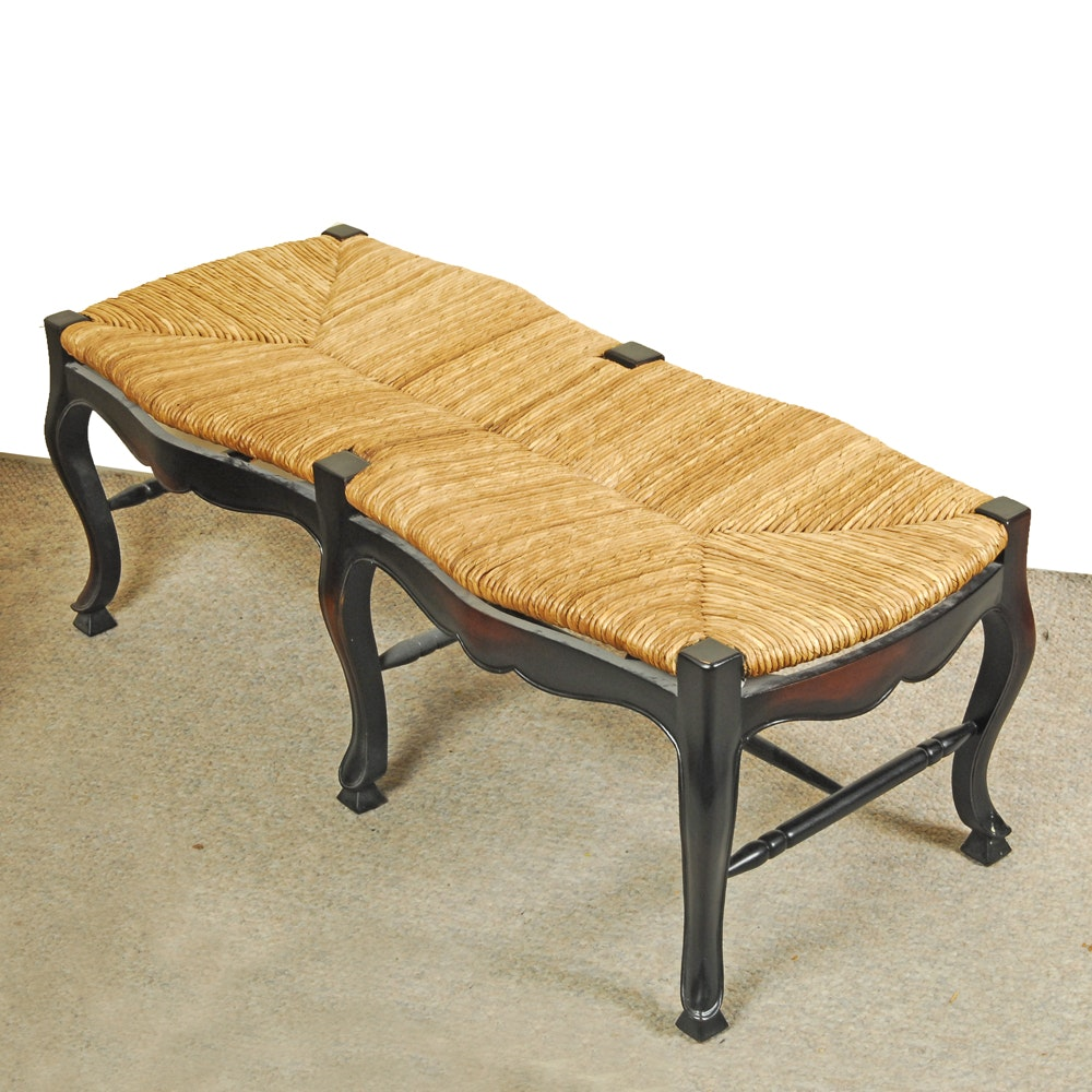 French Provincial Rush Seat Bench
