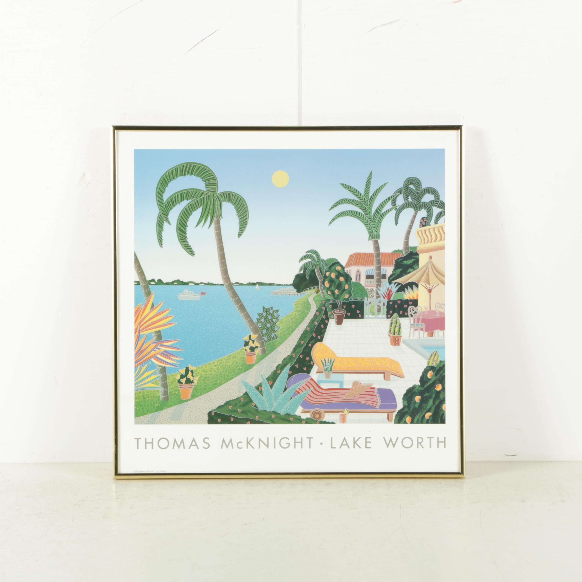 """Offset Lithograph on Paper After Thomas McKnight """"Lake Worth"""""""