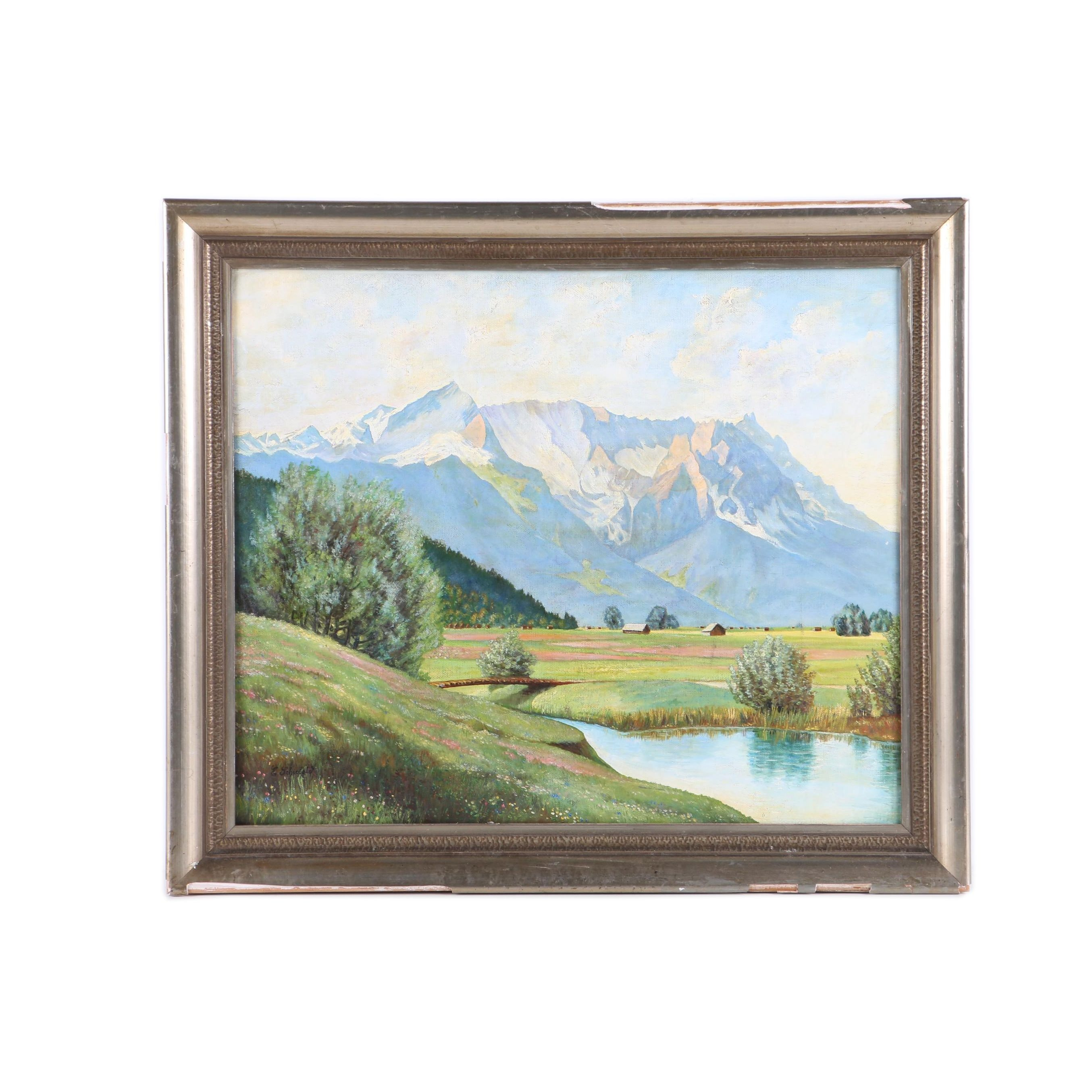 E. Schiebold 1940 Oil Painting on Canvas Board of Alpine Landscape