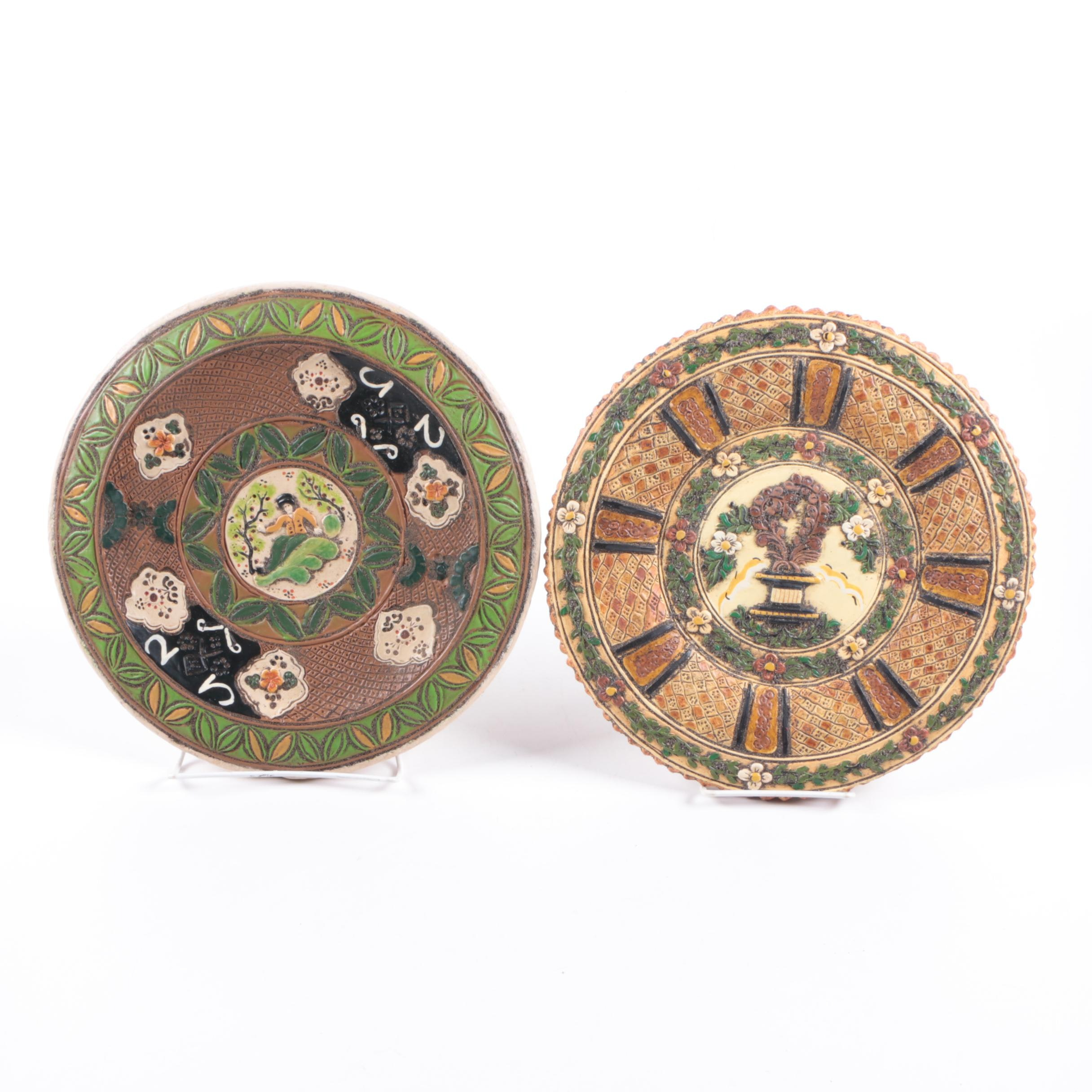 Pair of Decorative Ceramic Plates in Relief Decor