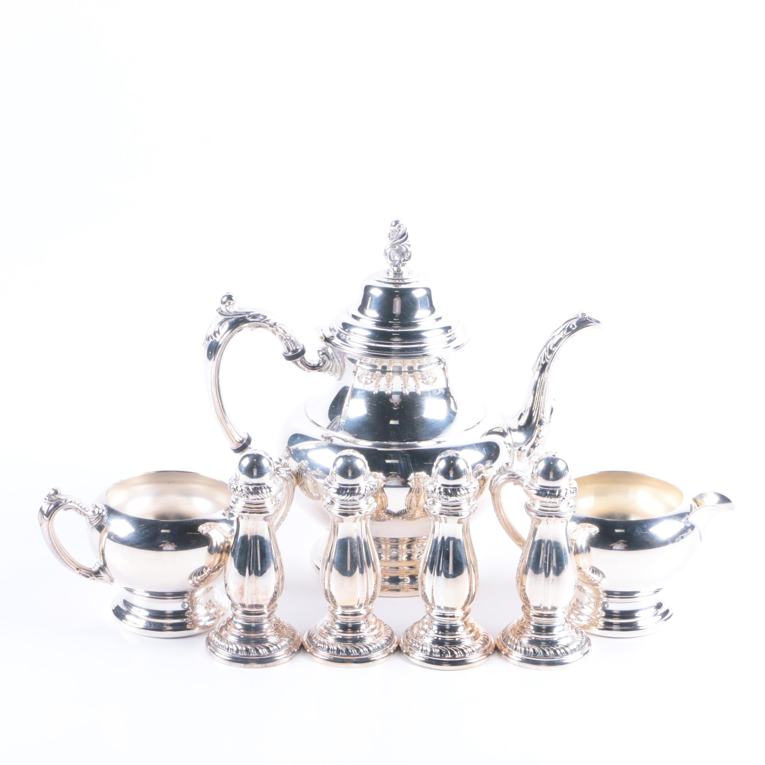 Oneida Silver Plate Tea Service with Neiman Marcus Footed Shakers