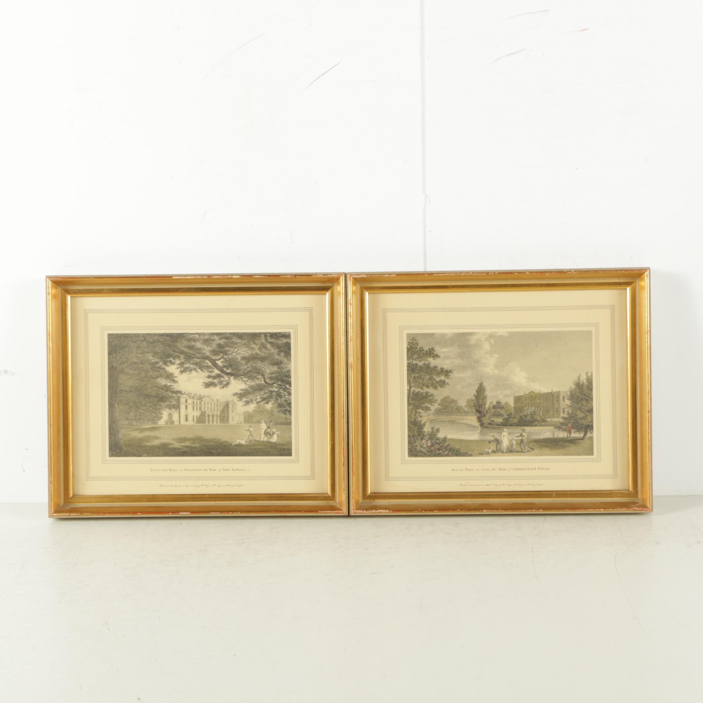 Lithographs After W. Angus Etchings of Estates