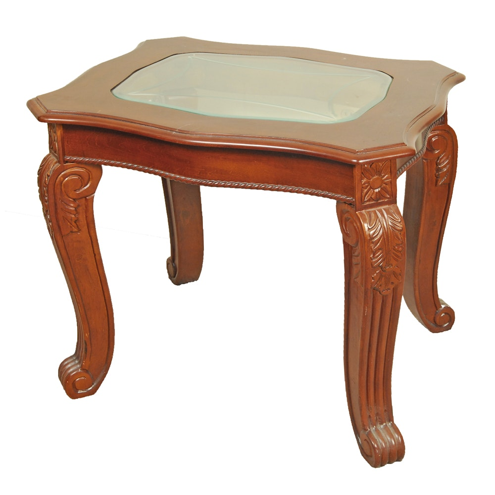 Georgian Style End Table with Glass Top