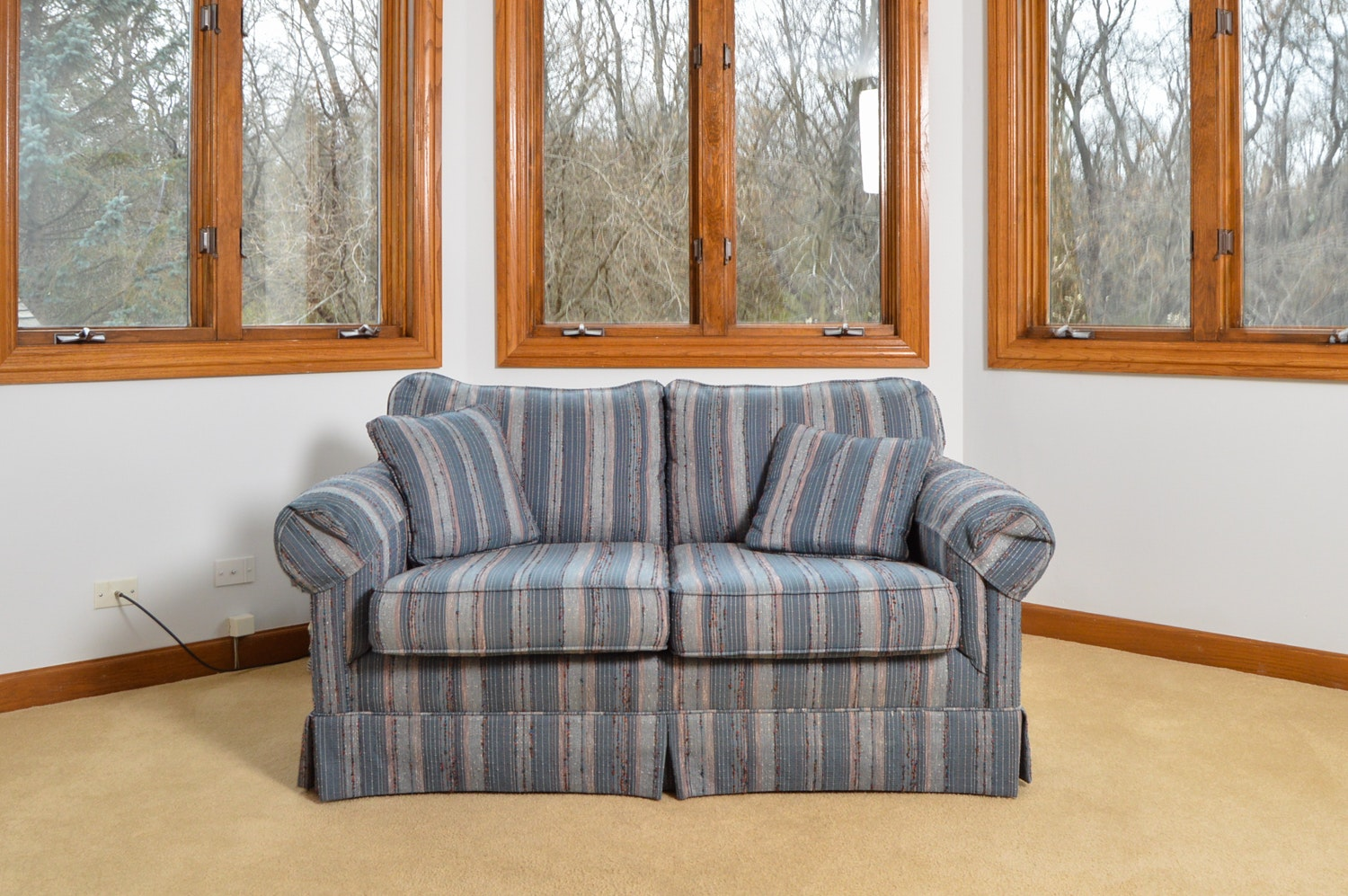 Blue Striped Loveseat by State of Hickory, Inc.