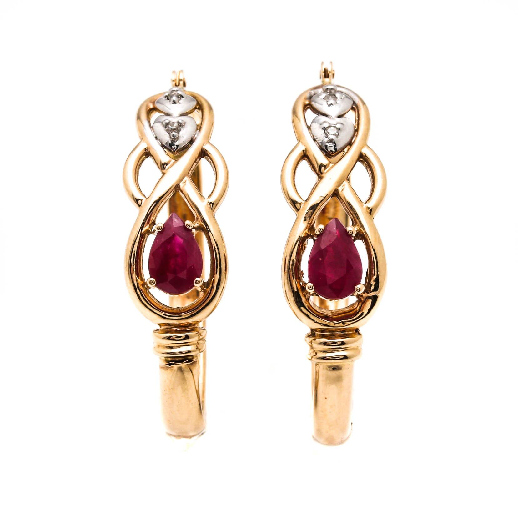 14K Yellow Gold Ruby and Diamond Hoop Earrings