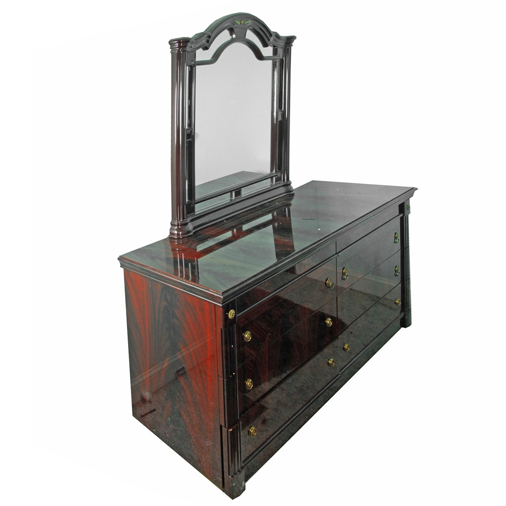 Flame Mahogany Dresser With Mirror in Gloss Lacquer