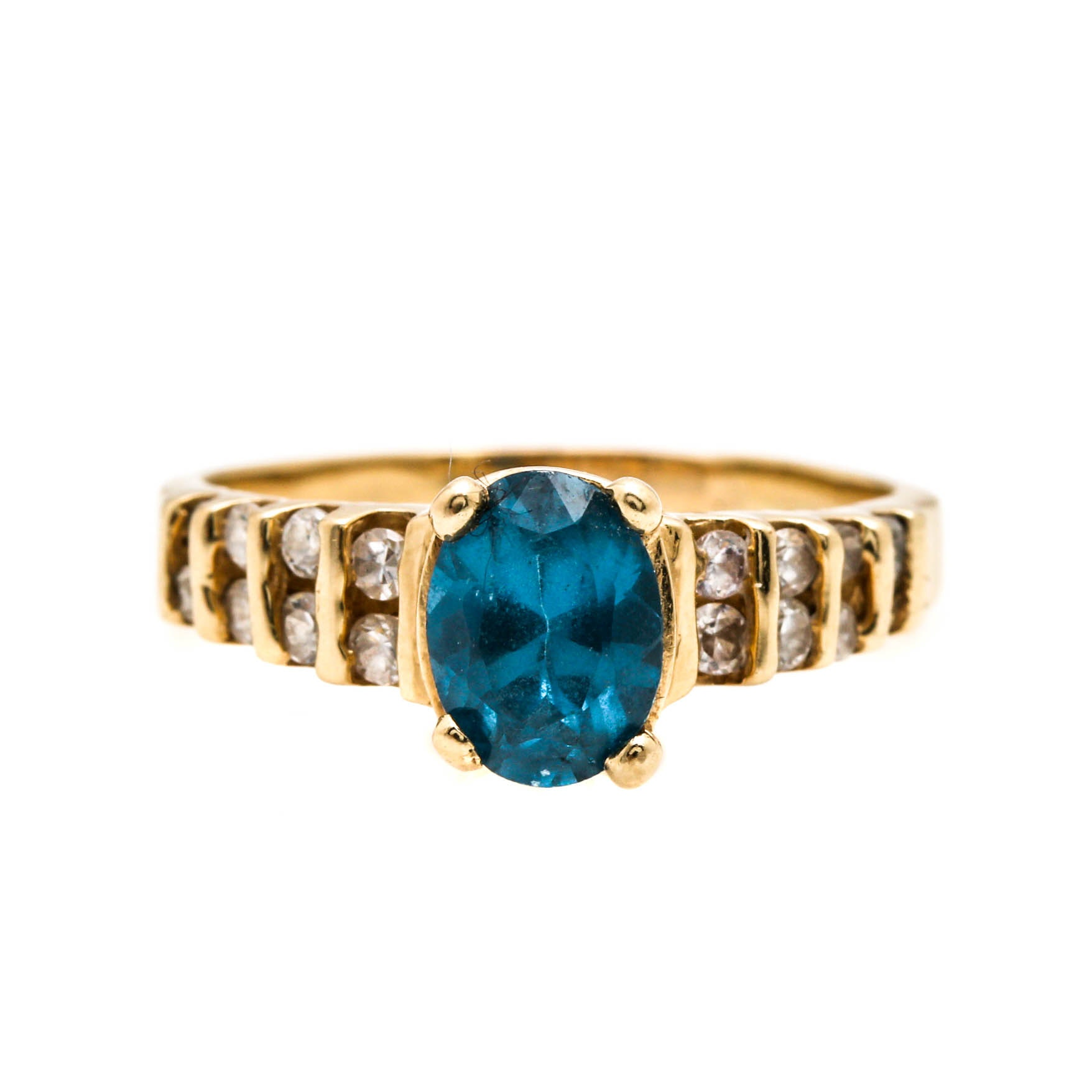 14K Yellow Gold Spinel and Cubic Zirconia Ring