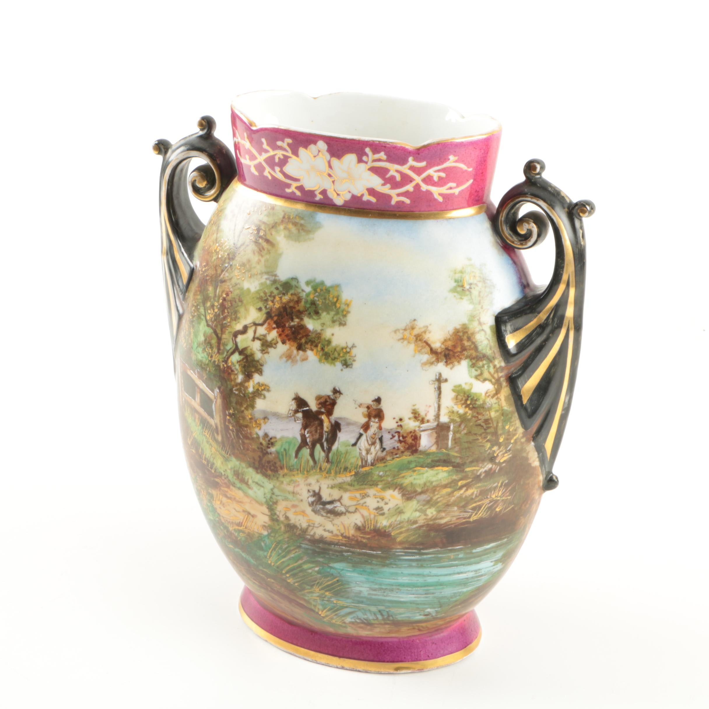 Antique Hand-Painted Porcelain Vase
