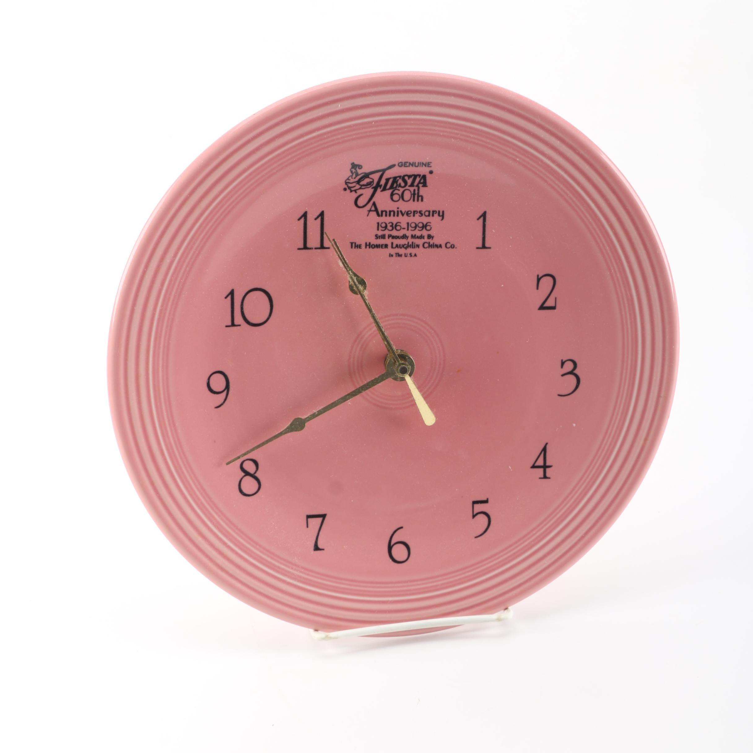 Homer Laughlin Fiesta 60th Anniversary Plate Wall Clock