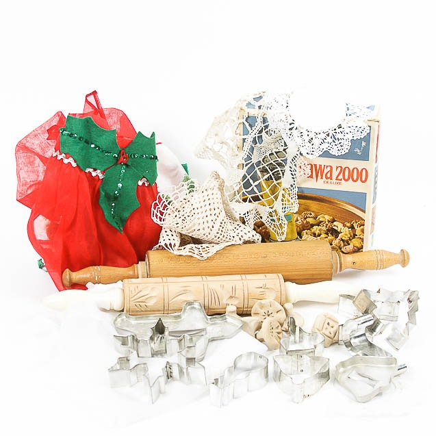 Collection of Baking Supplies, Holiday Linens and Decor