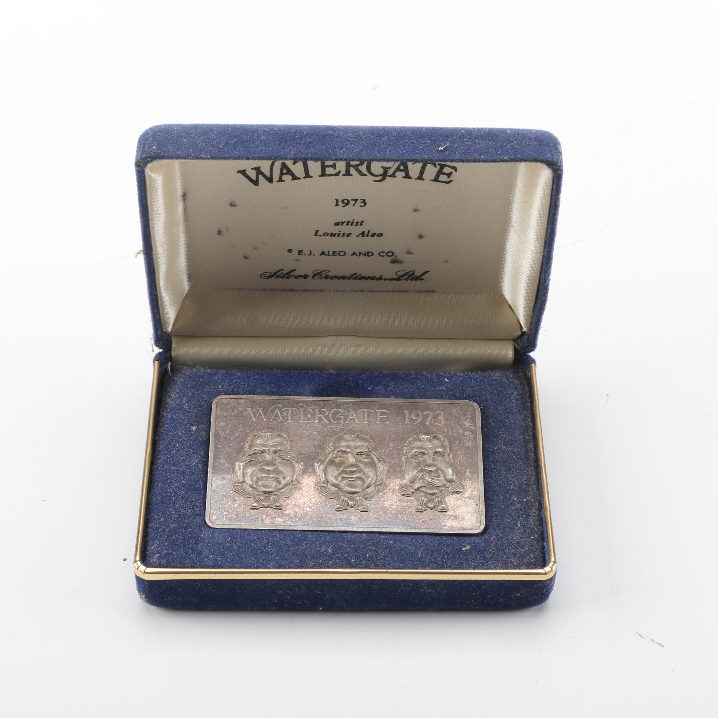 """Silver Creations, Ltd. Limited Edition """"Watergate 1973"""" Pure Silver Ingot"""