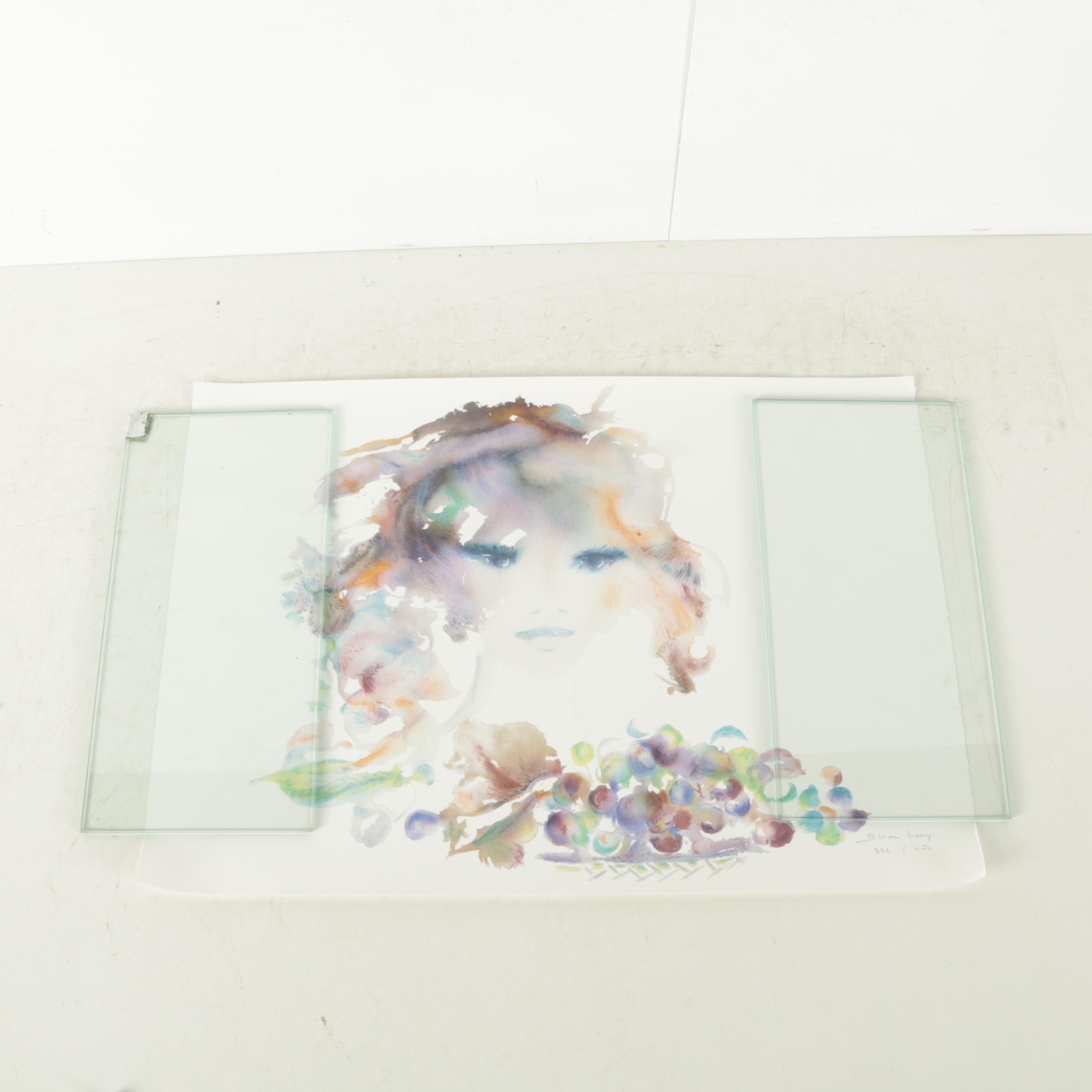 """Shan-Merry Limited Edition Color Lithograph """"Portrait de Jeune Fille II"""""""