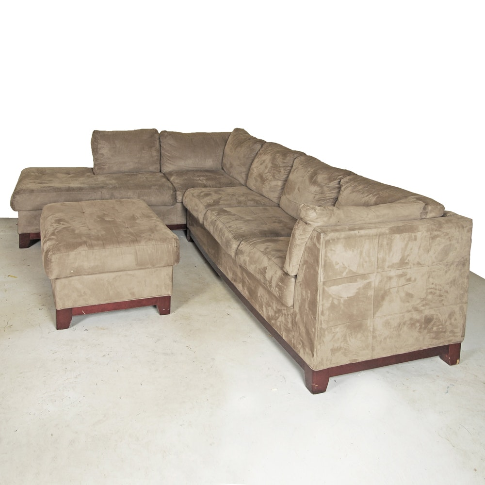 Micro-suede Sectional with Ottoman