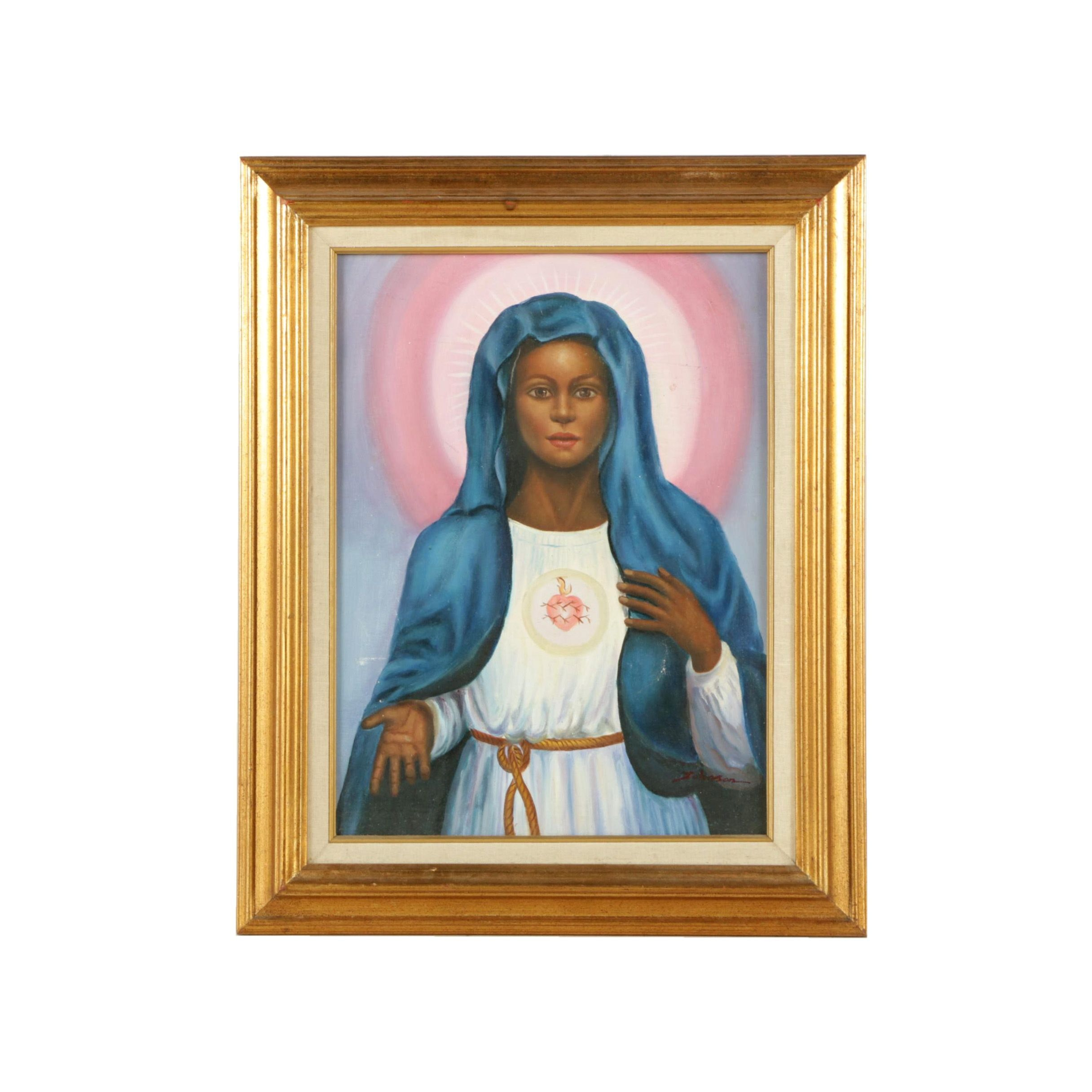 Oil Painting on Canvas Depicting Mary Mother of Jesus