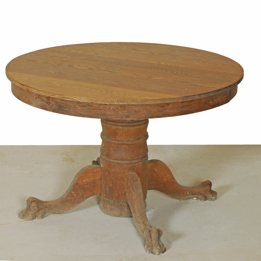 Vintage Oak Claw Foot Dining Table