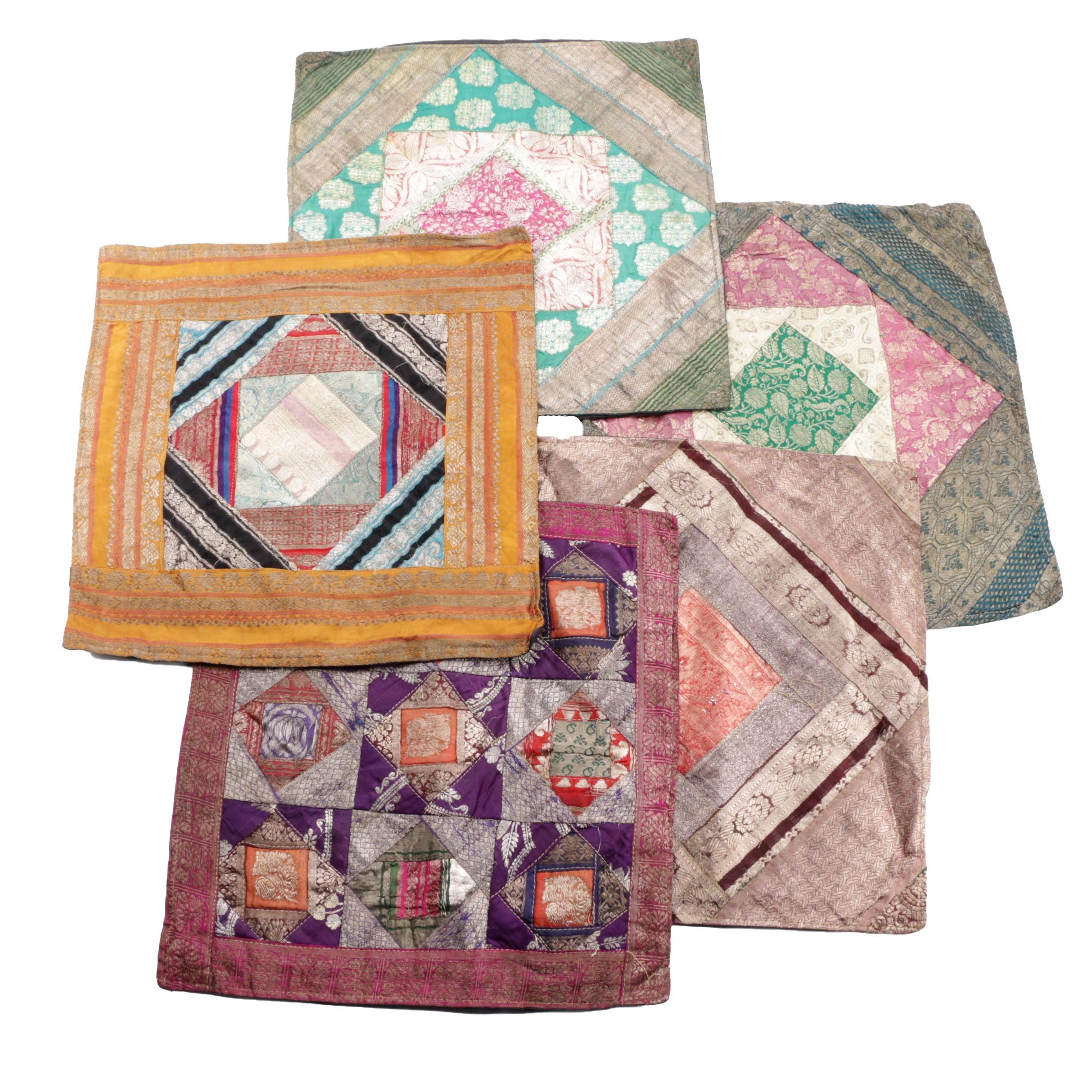 Silk Sari Patchwork Pillow Covers