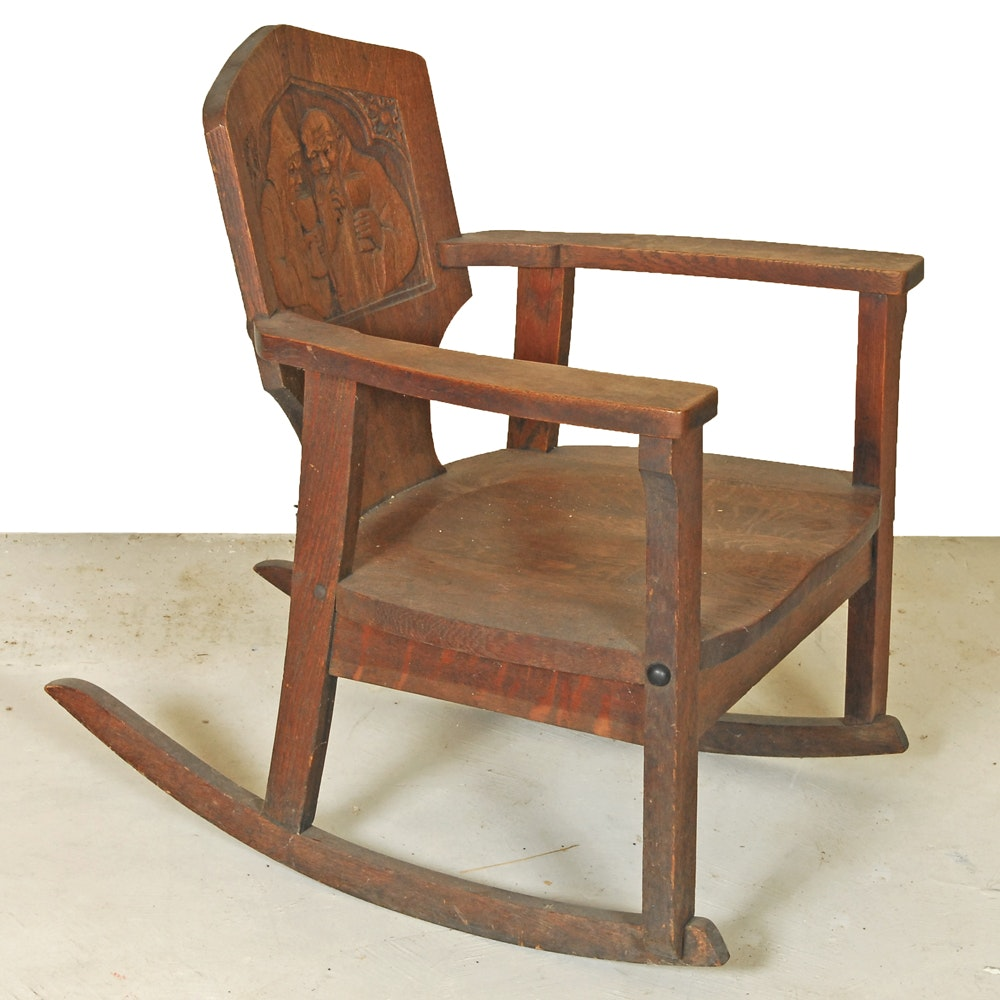 Vintage Oak Rocking Chair with Carved Back