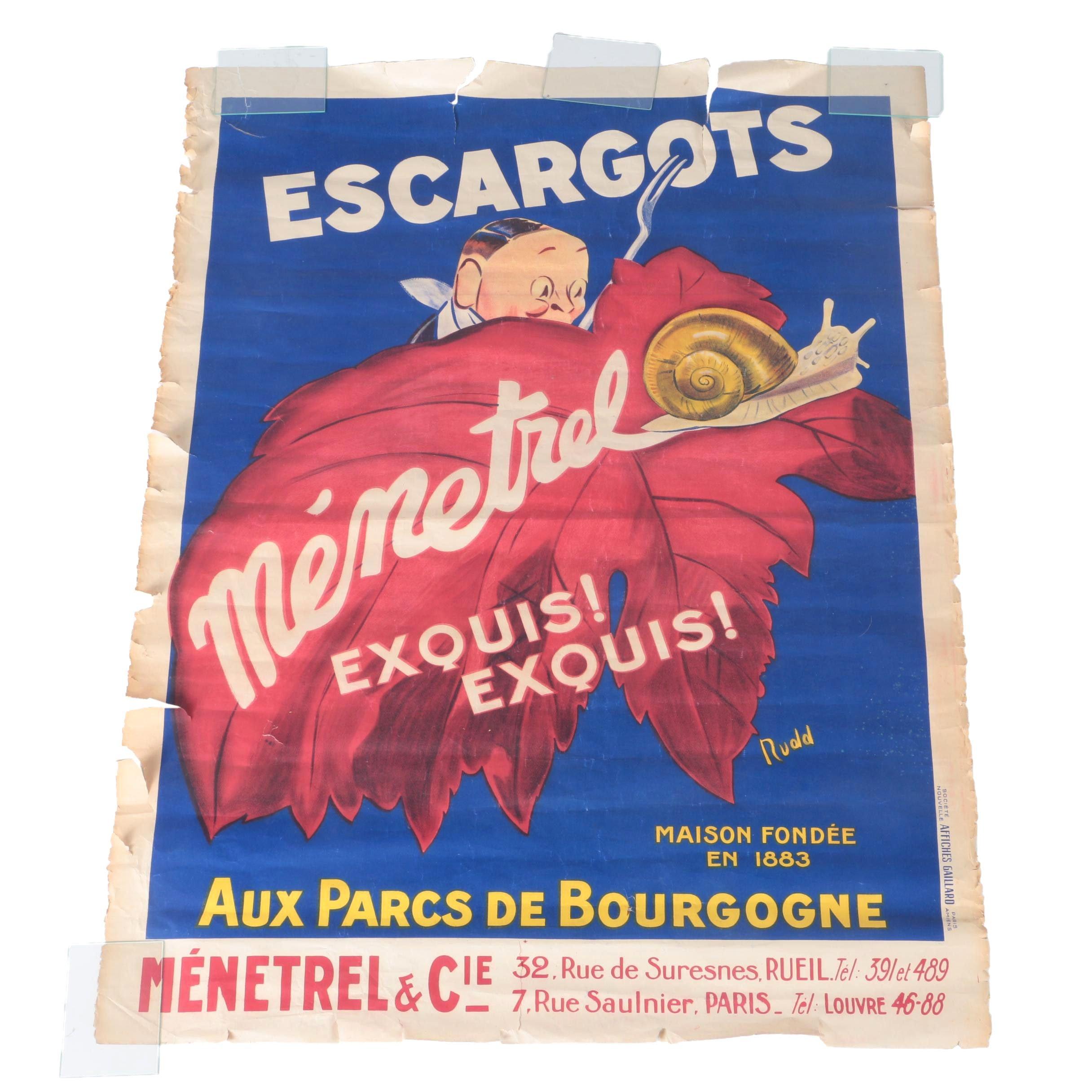 """Circa 1925 French Chromolithograph Poster """"Escargots Ménetrel"""""""