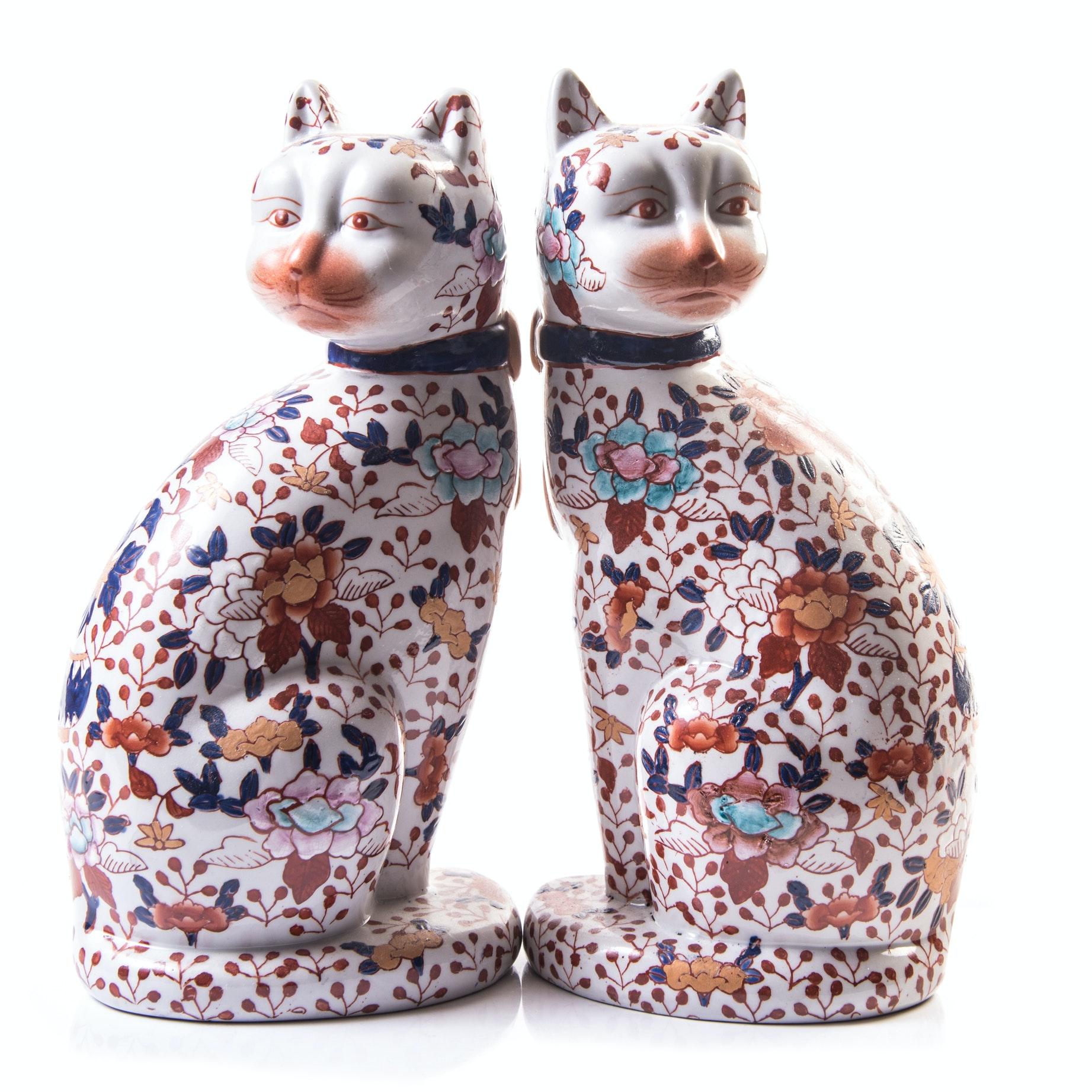 Chinese Ceramic Imari Style Cat Figurines