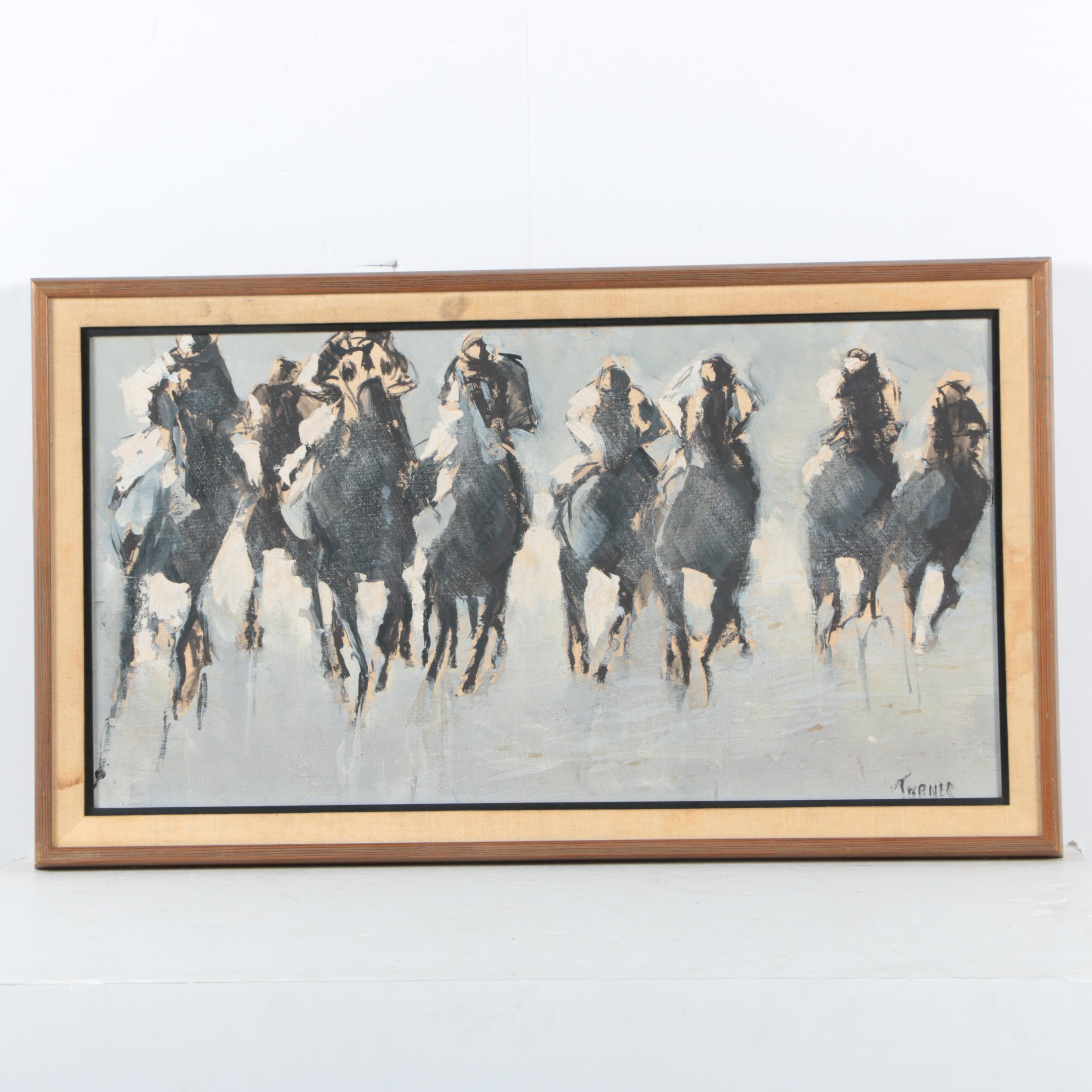 Turner Oil Painting of Racehorses on Canvas Board