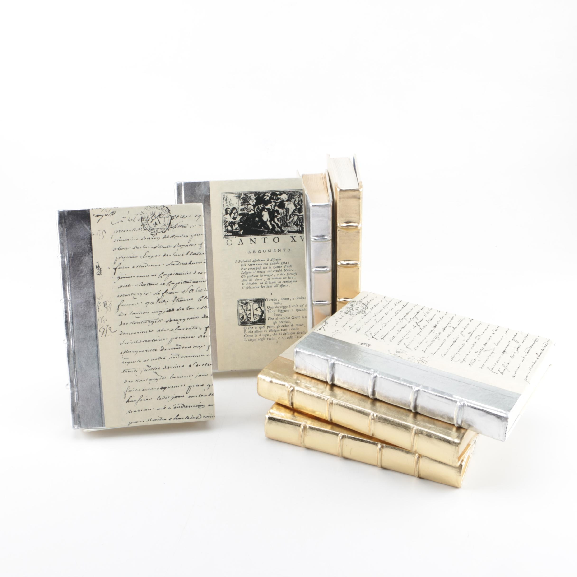 Collection of Hardcover Books featuing Custom Metallic Binding