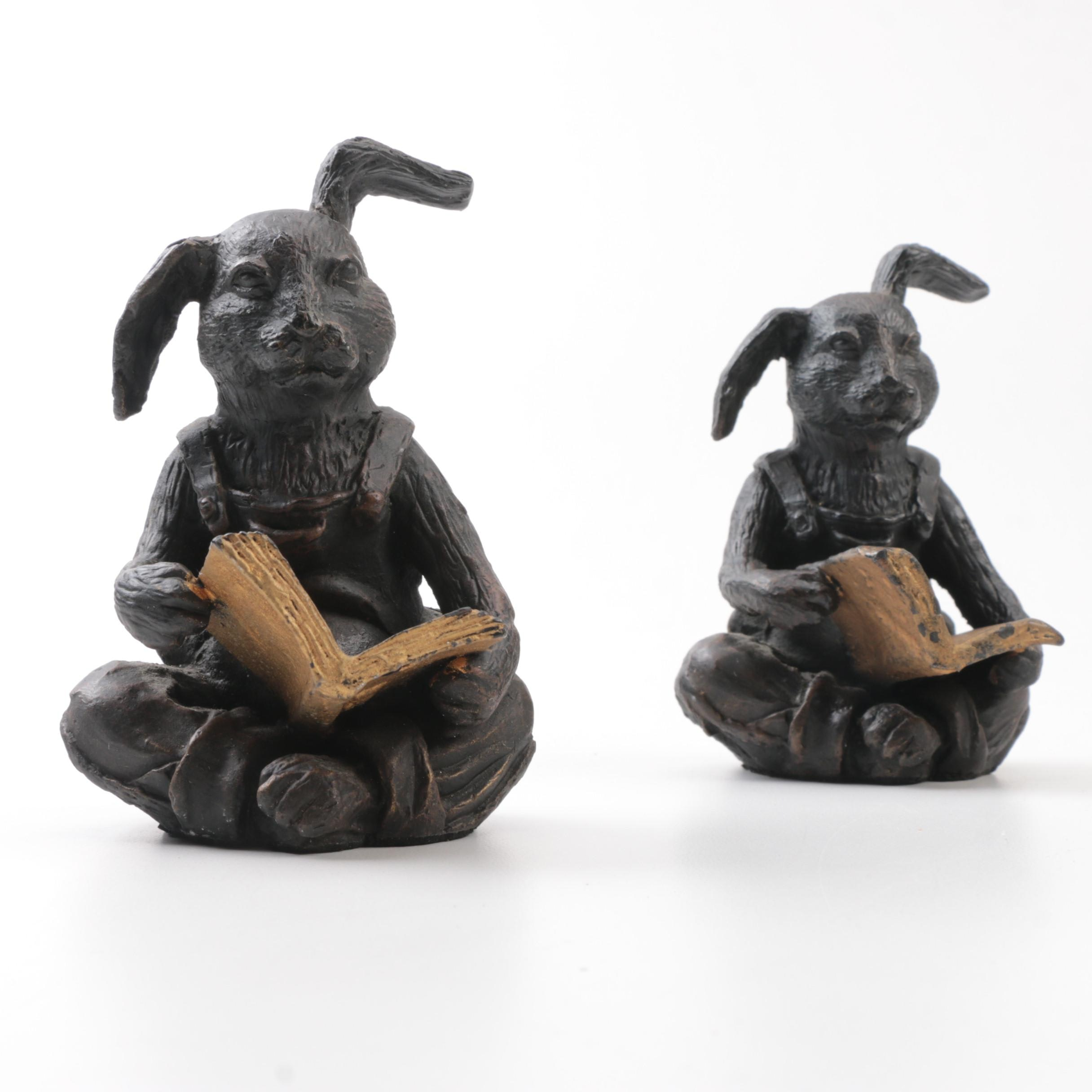 Vintage Reading Bunny Bronze Bookends