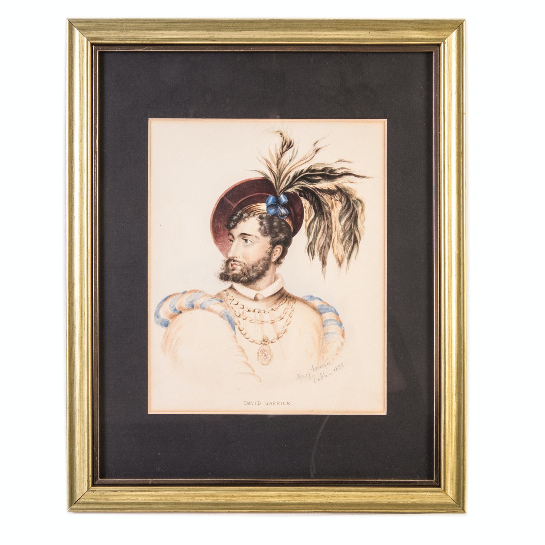 Antique Watercolor Portrait of David Garrick