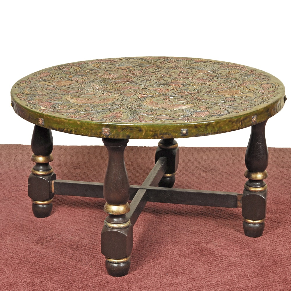 Asian Polychromed Round Coffee Table