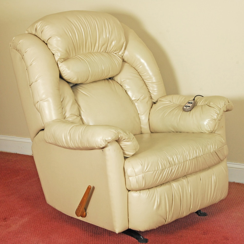 Faux Ivory Leather Stratolounger Recliner