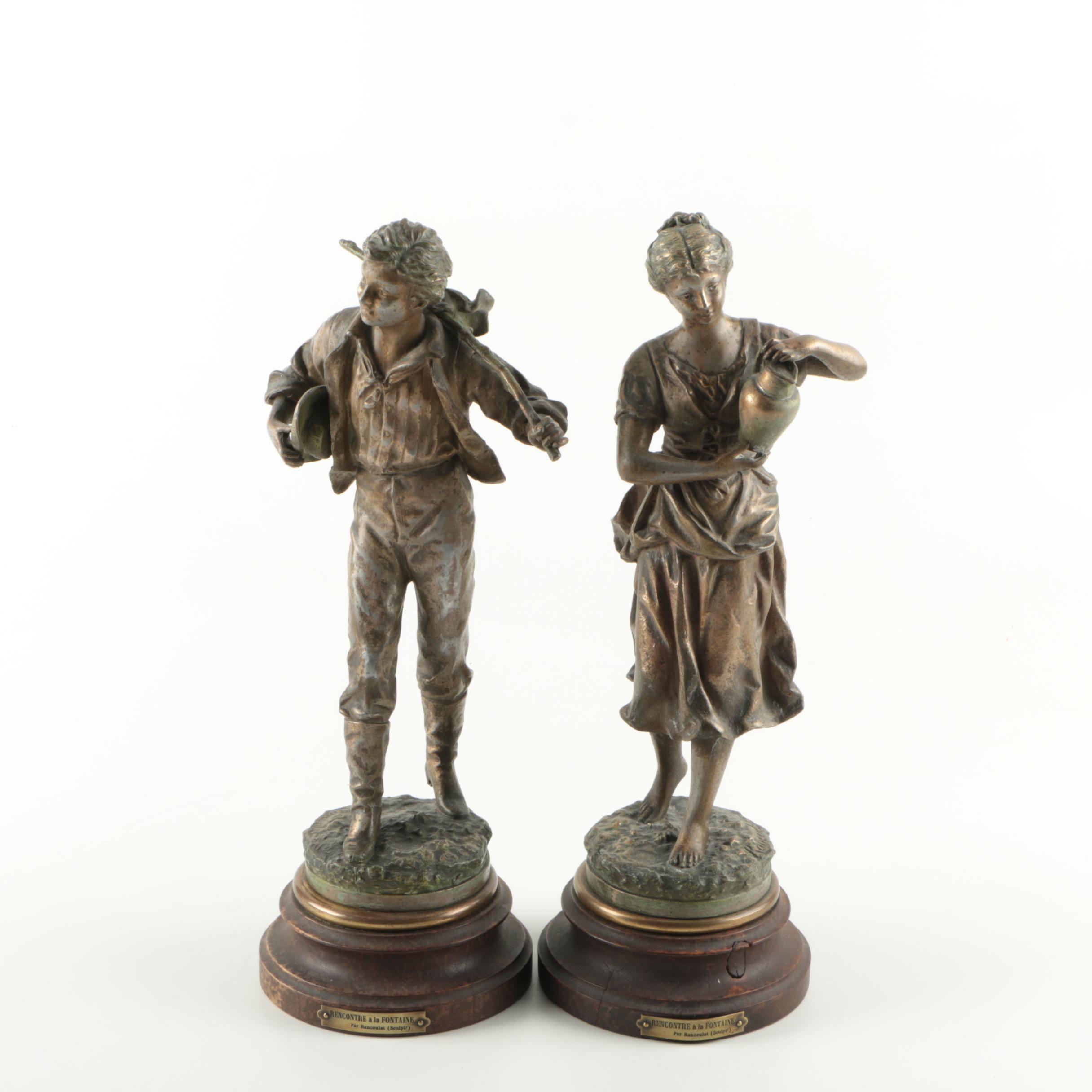 """Bronze Sculptures After Ernest Rancoulet """"Rencontre à la Fontaine"""""""
