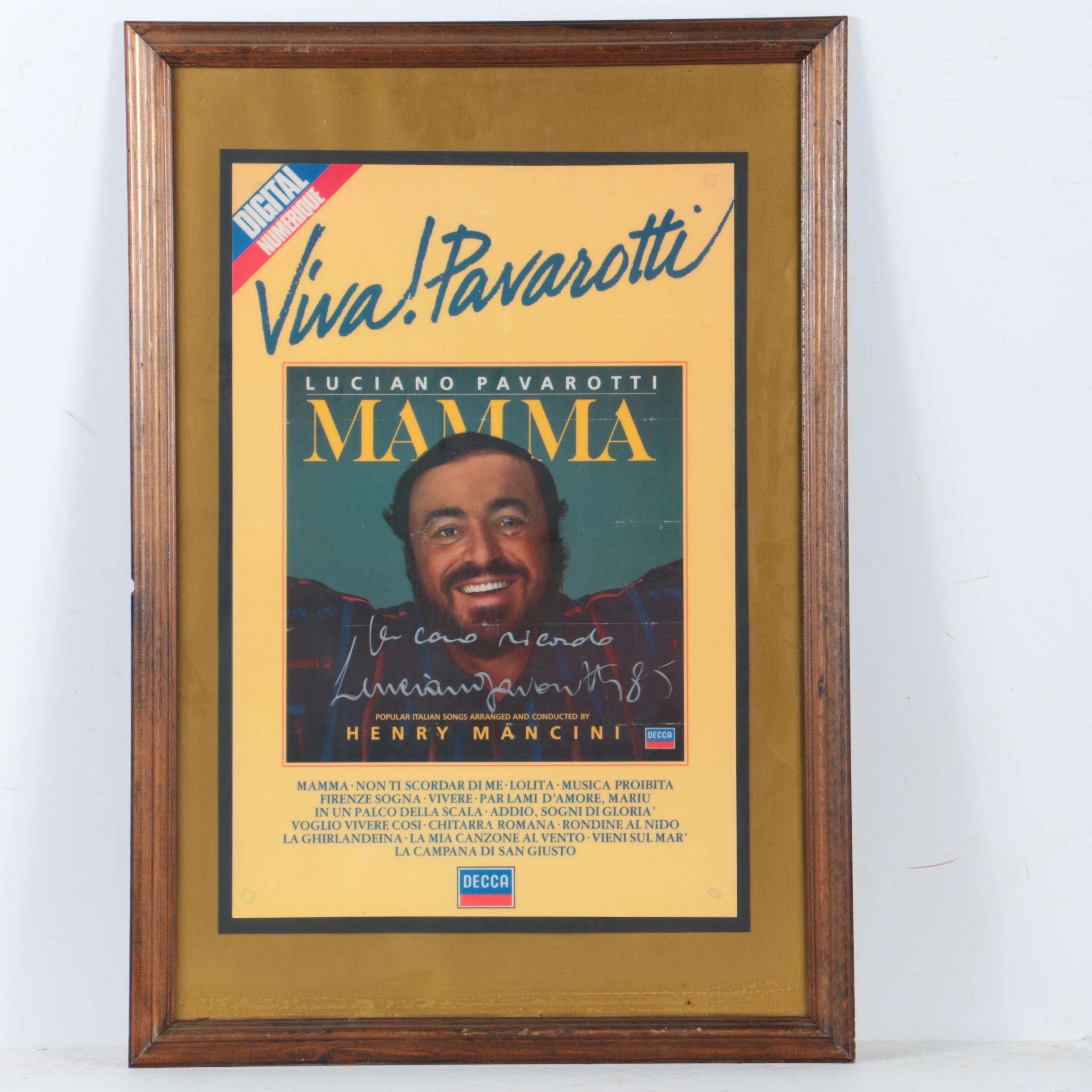 "Luciano Pavarotti Autographed Offset Lithograph Poster ""Viva! Pavarotti"""