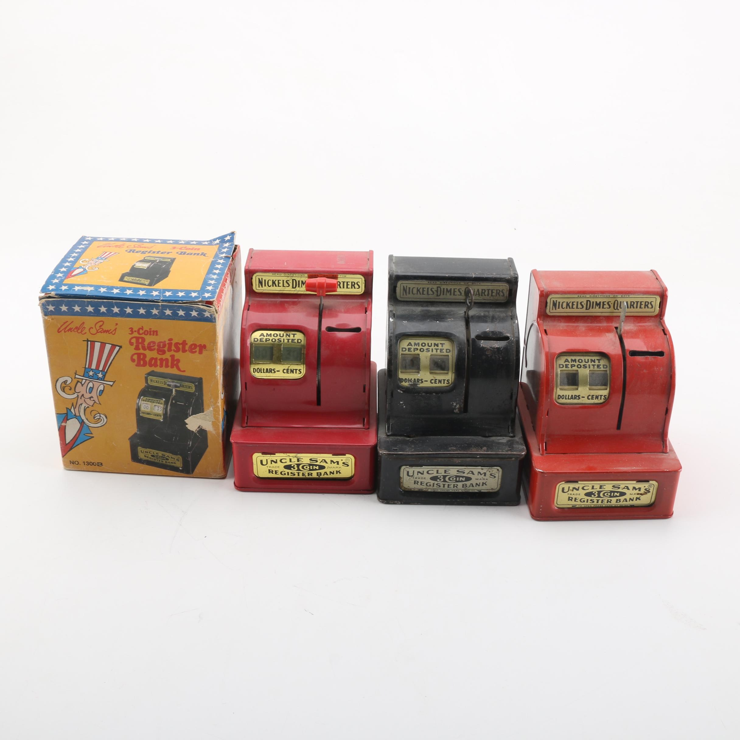 Collection of Uncle Sam's 3-Coin Register Banks
