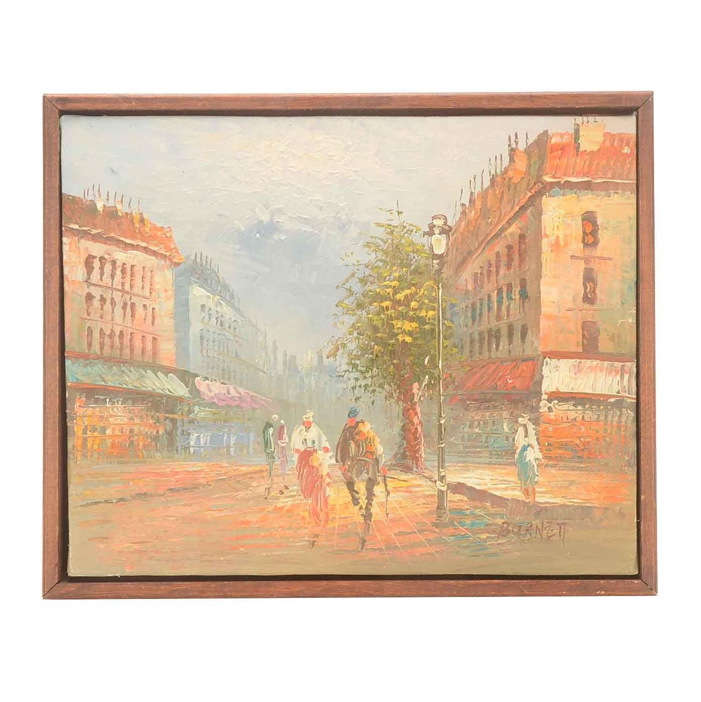 Caroline Burnett Original Oil on Canvas Parisian Street Scene