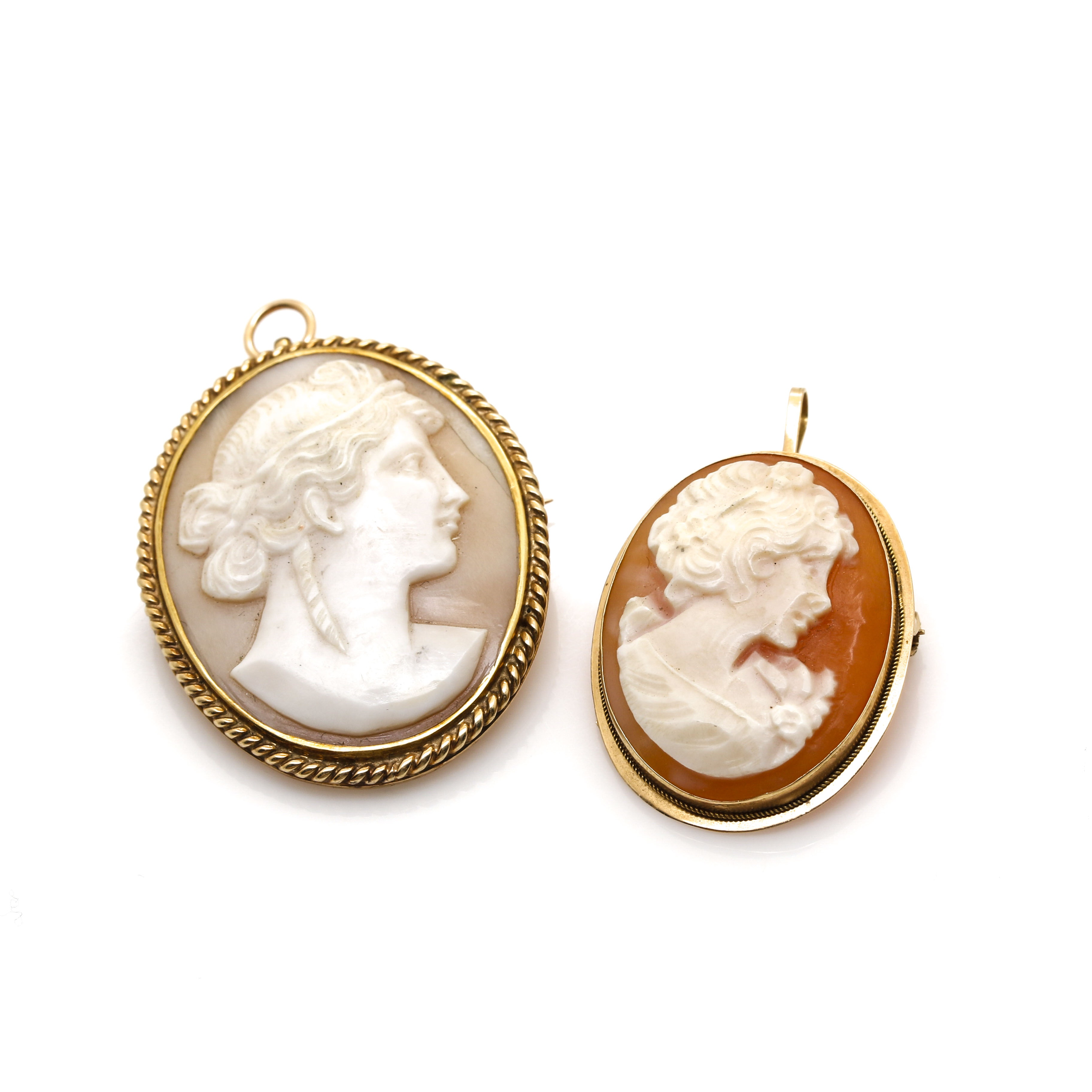 14K Yellow Gold Shell Cameo Pendant Brooches