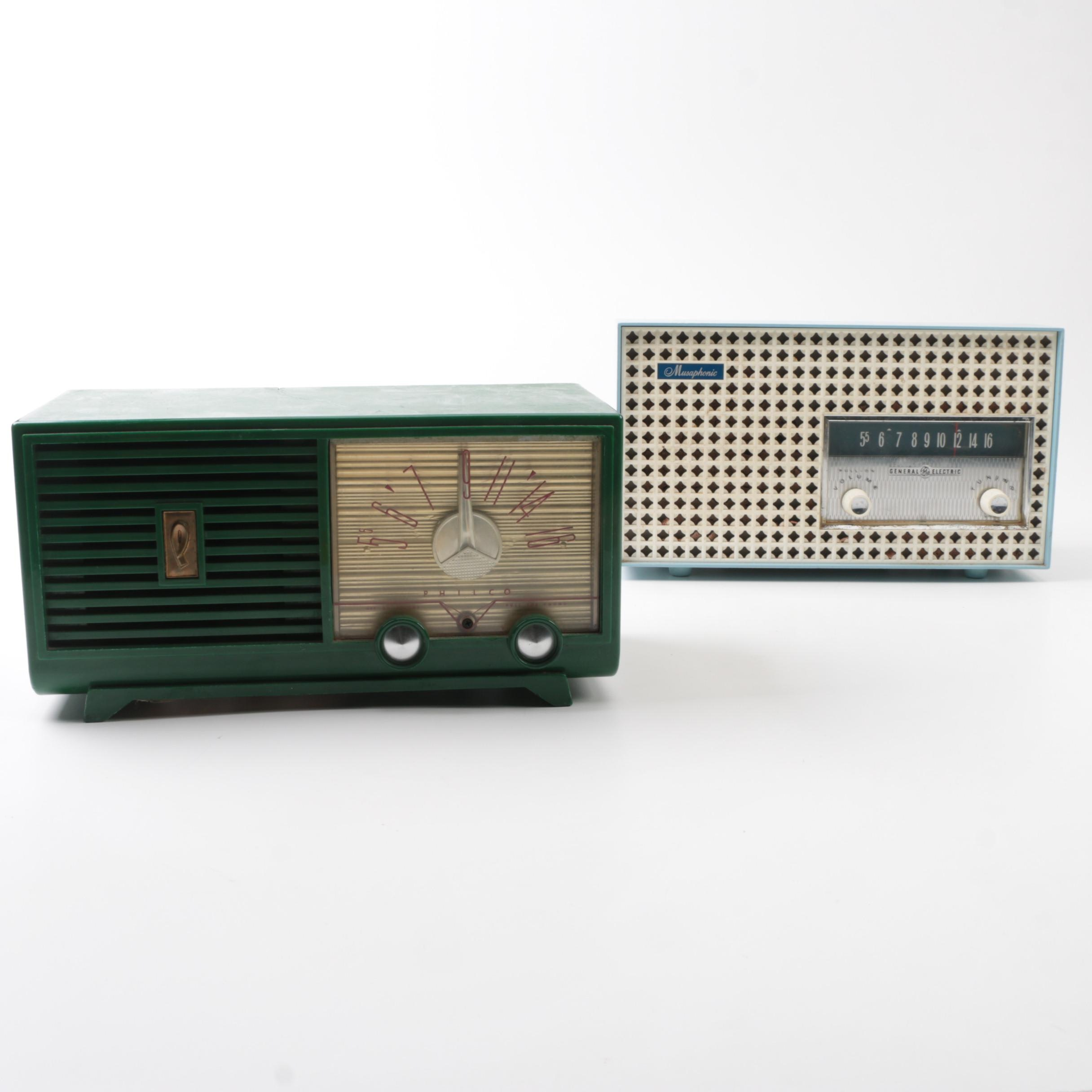 Vintage Philco D597 and General Electric T-165A Radios