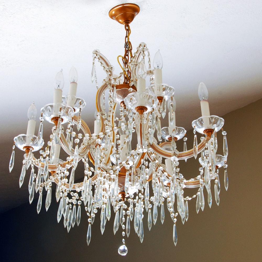 Two Tier Crystal Chandelier With Twelve Lights