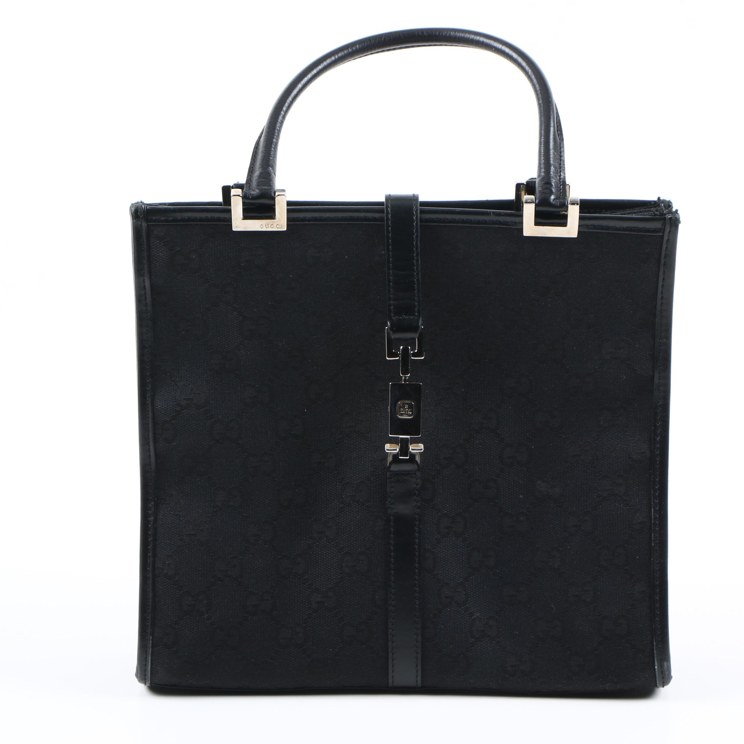 Gucci Black GG Canvas Handbag