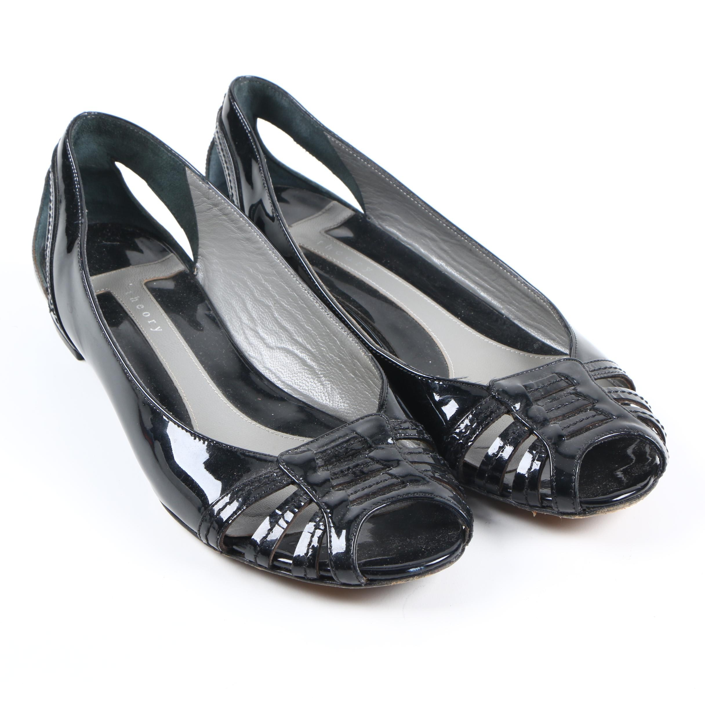 Theory Women's Patent Leather Peep Toe Pumps