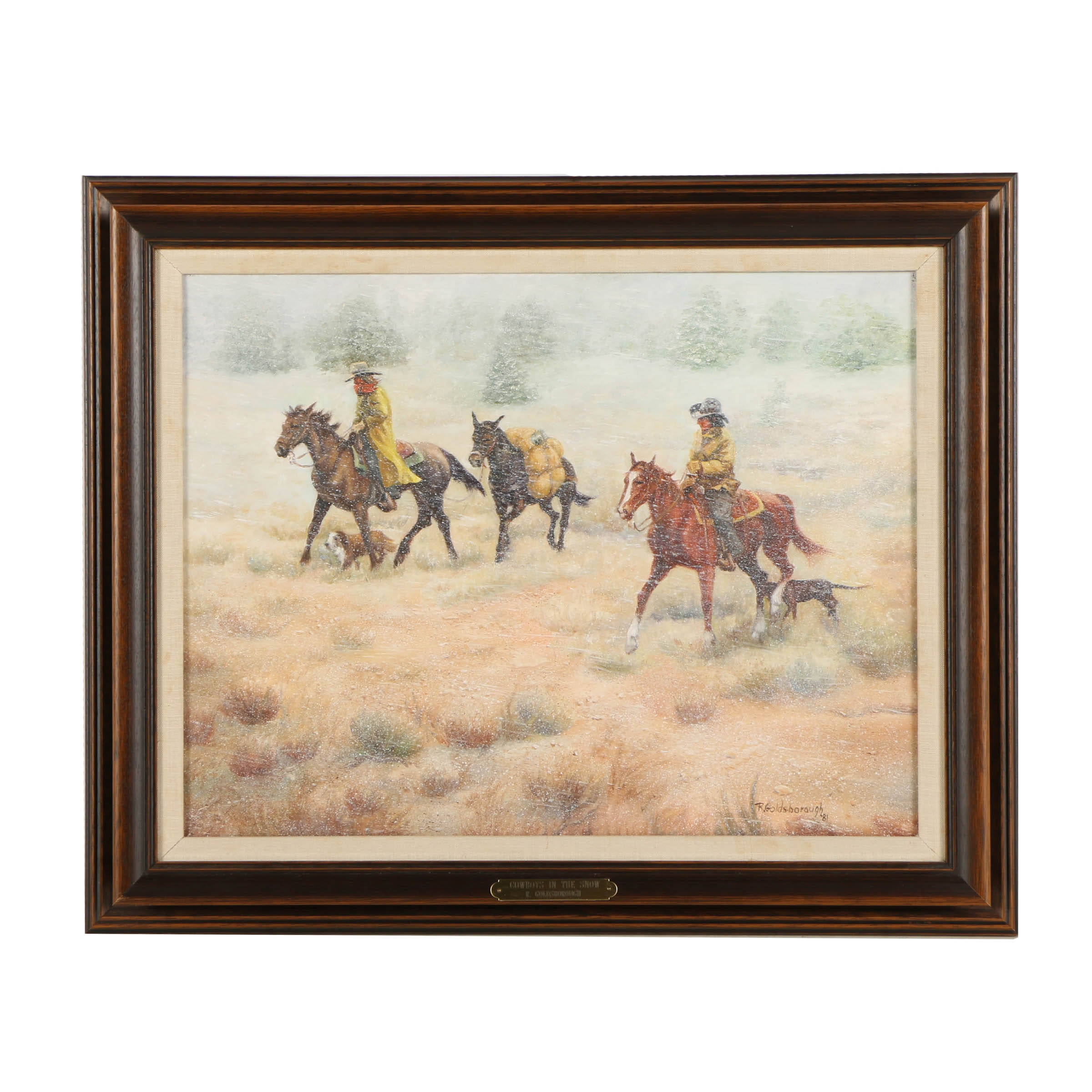 "Ruth Goldsborough Oil Painting on Canvas ""Cowboys in the Snow"""