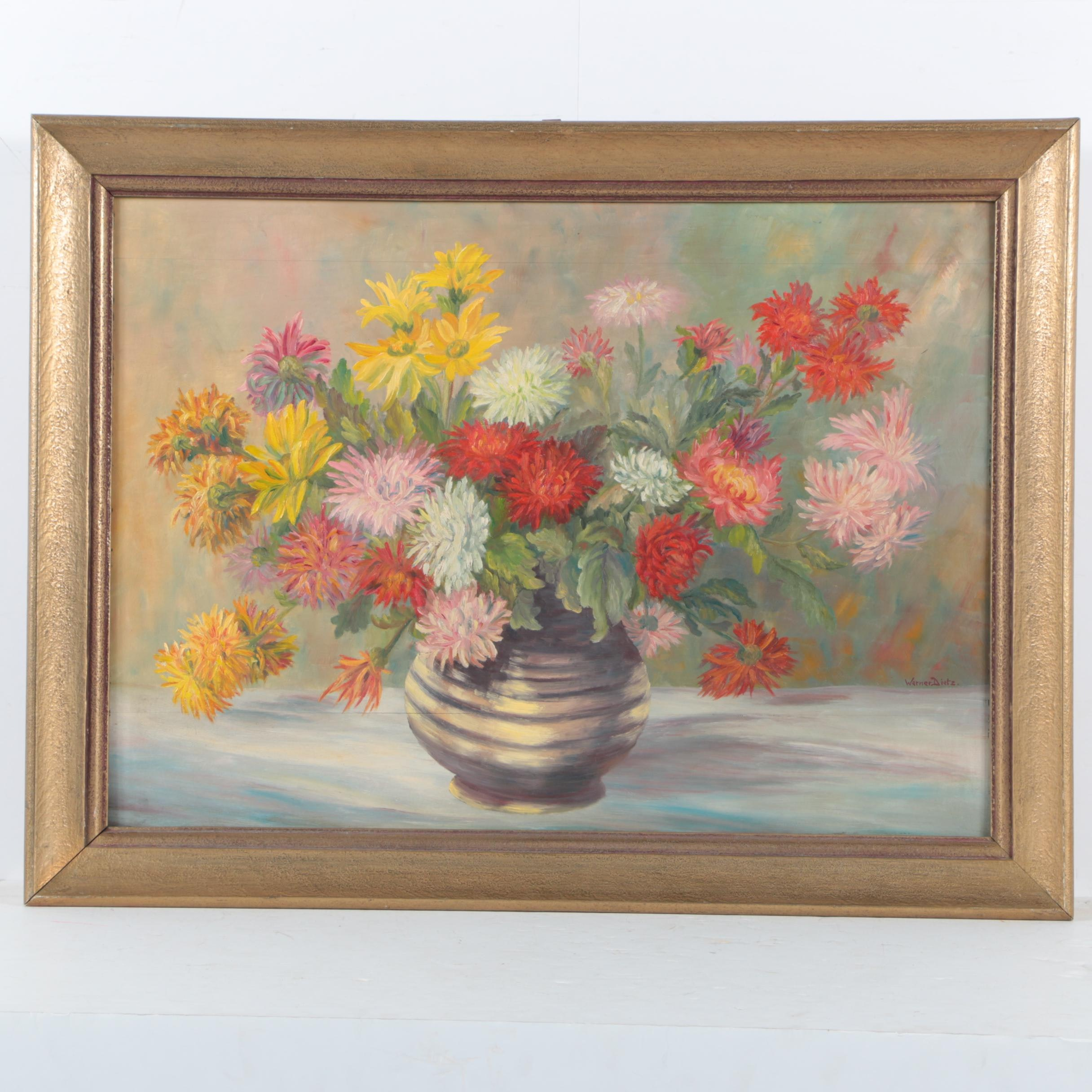 Werner Dietz Oil on Panel of Floral Still Life