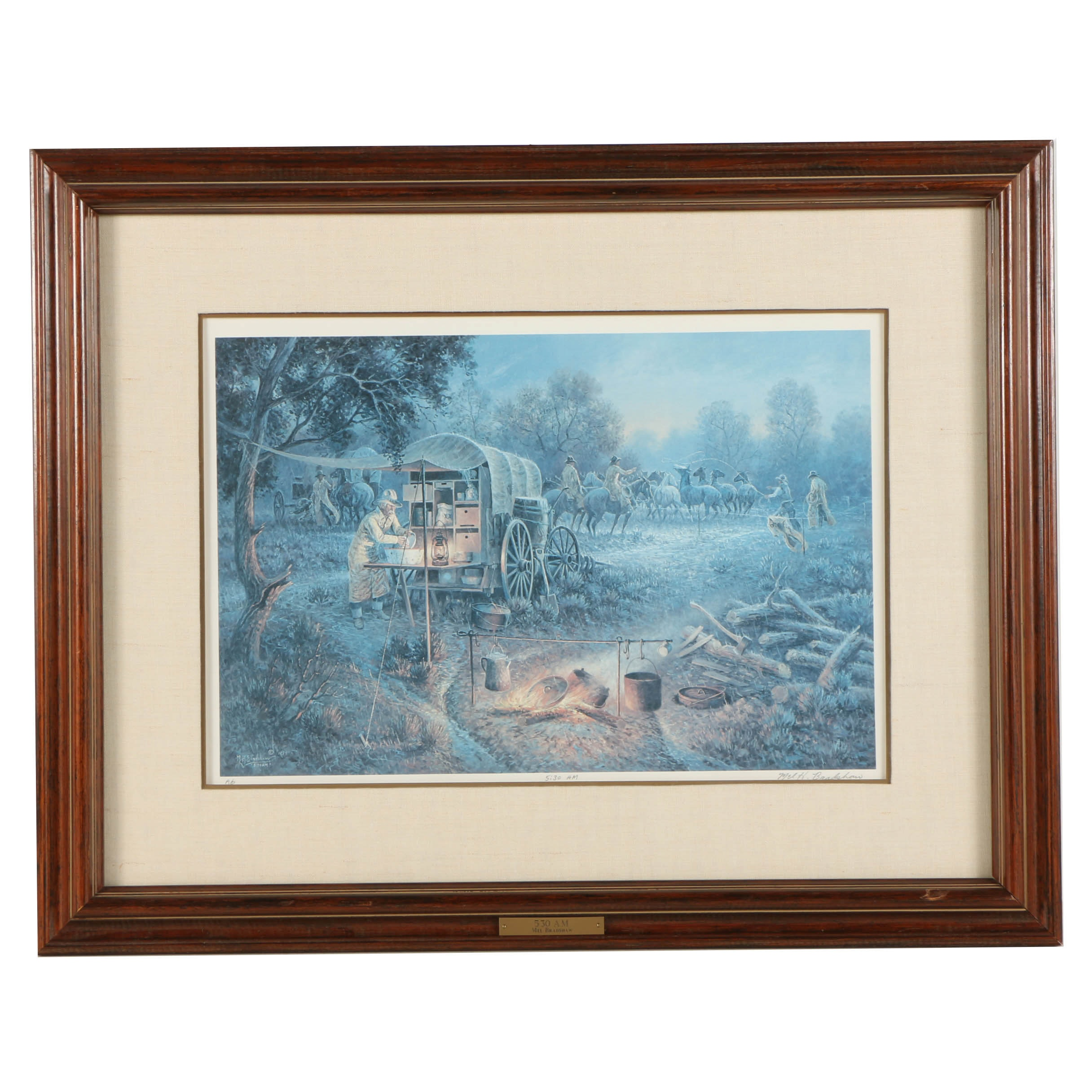 "Mel H. Bradshaw Signed Artist's Proof Reproduction Print on Paper ""5:30 A.M."""