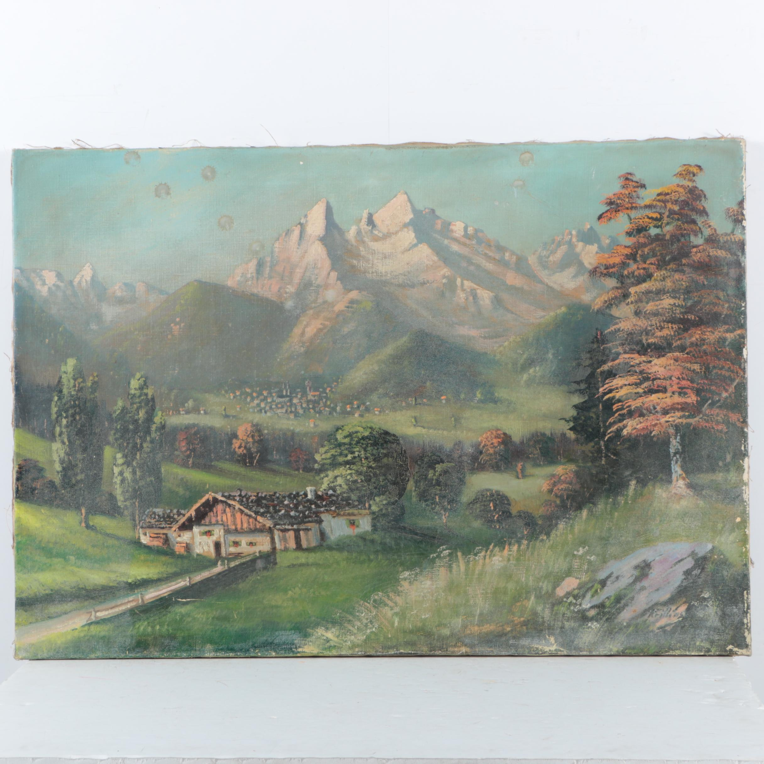 Oil Painting on Canvas of Mountain Landscape