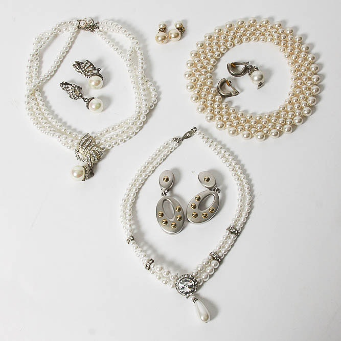Collection of Vintage Faux Pearl and Silver Tone Costume Jewelry