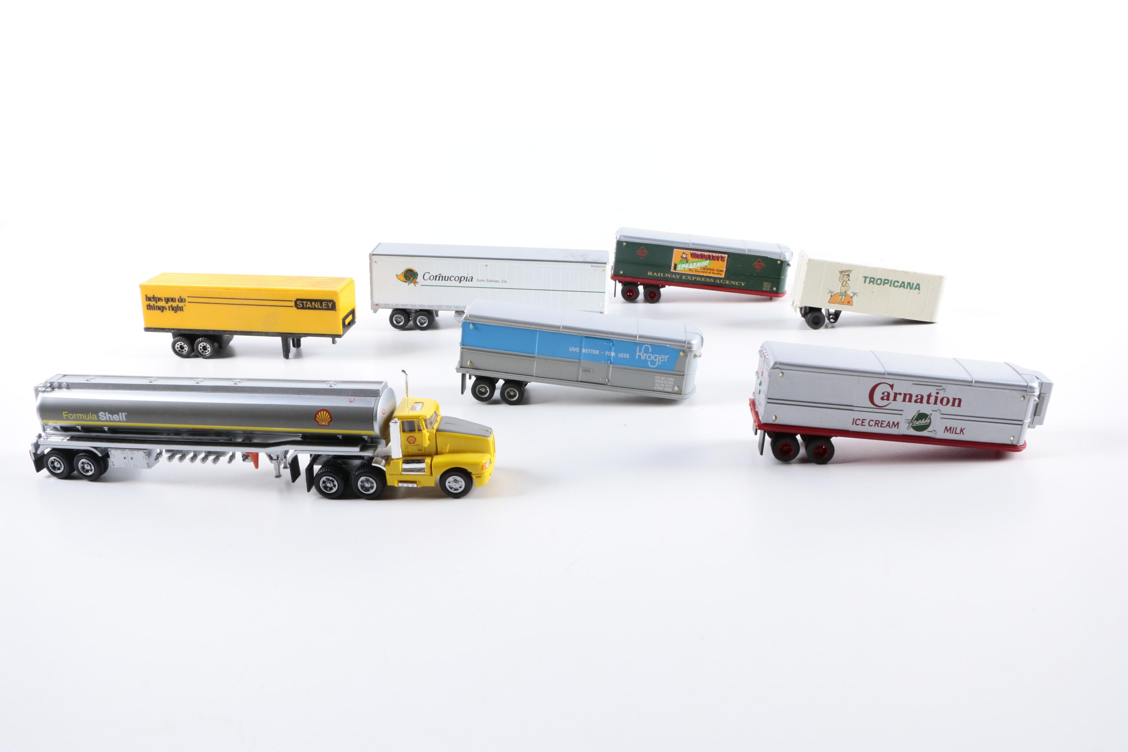Model Semi Truck with Branded Trailers