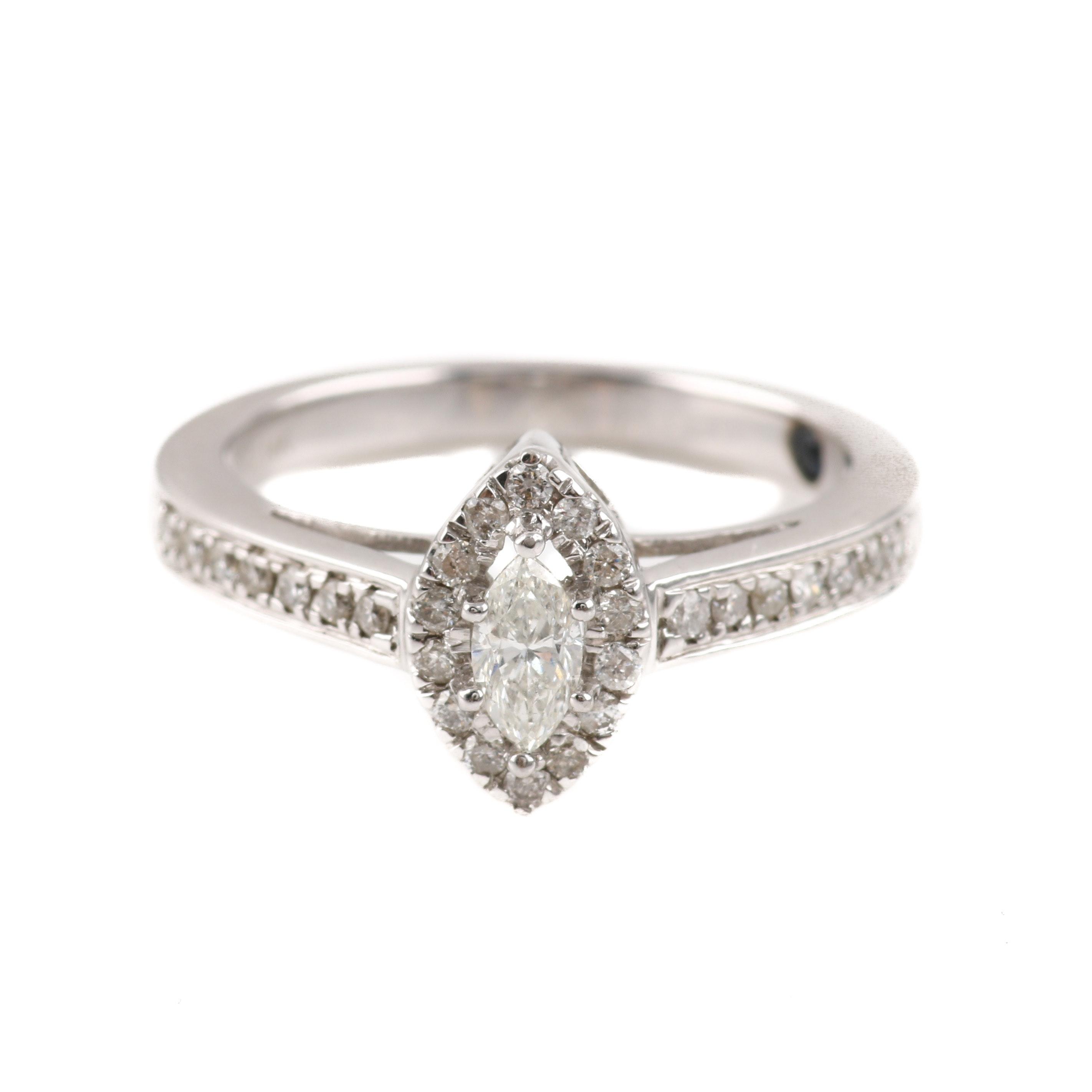 14K White Gold Marquise Diamond Ring