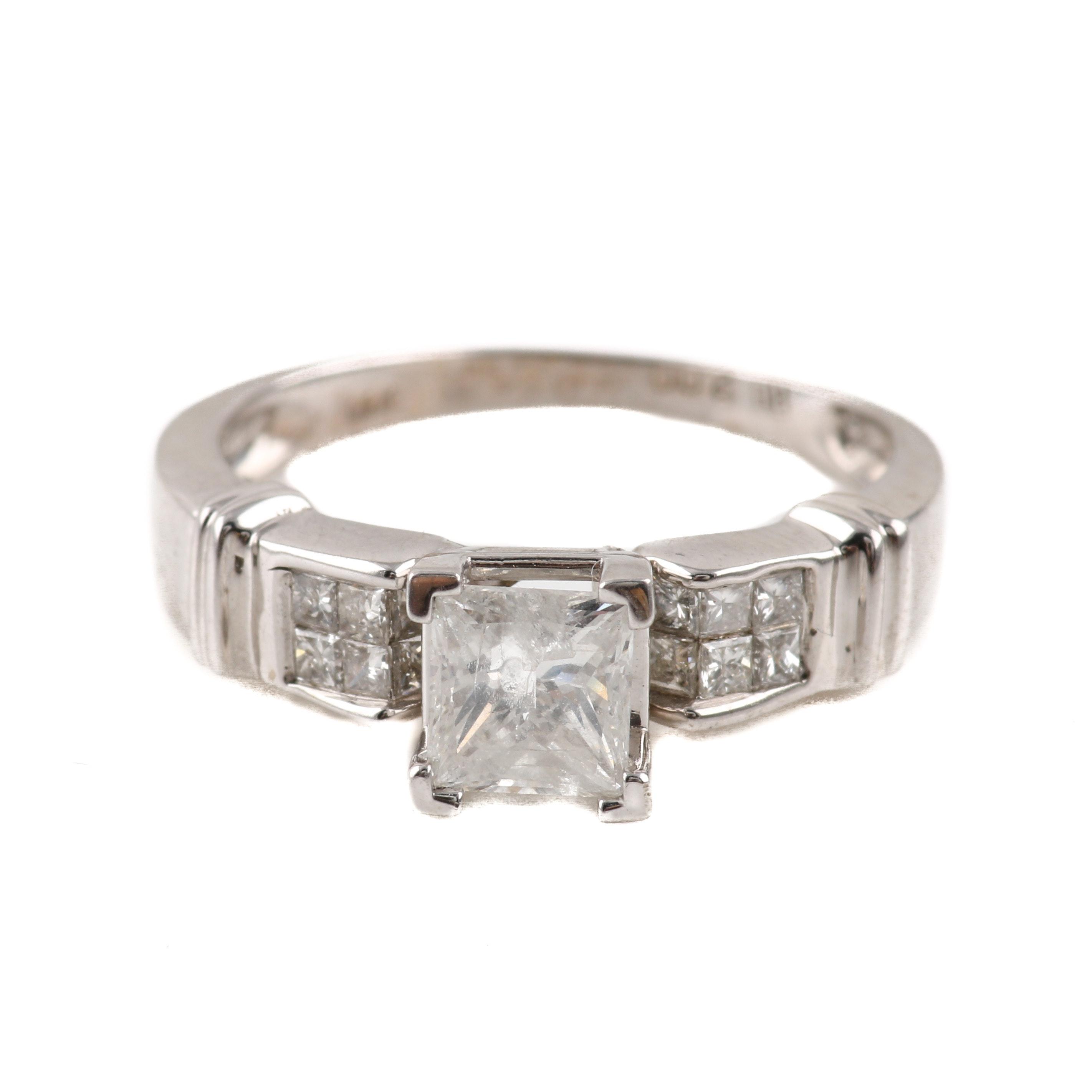 14K White Gold 1.26 CTW Diamond Ring