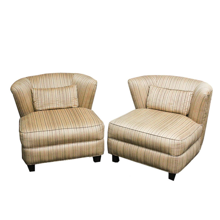 Deco Revival Custom Upholstered Lounge Chair Pair