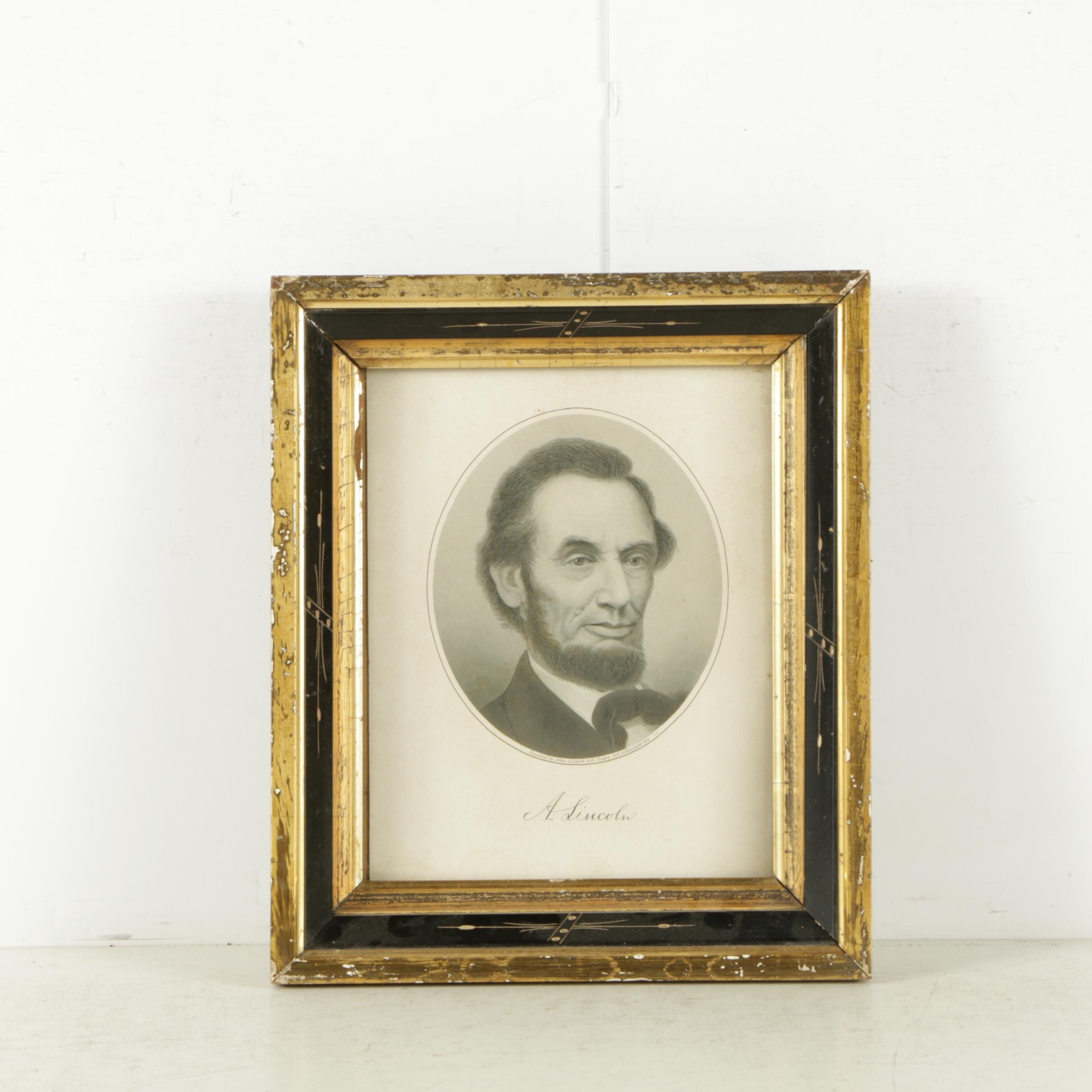 1901 Engraving on Paper of Abraham Lincoln After John A. Lowell