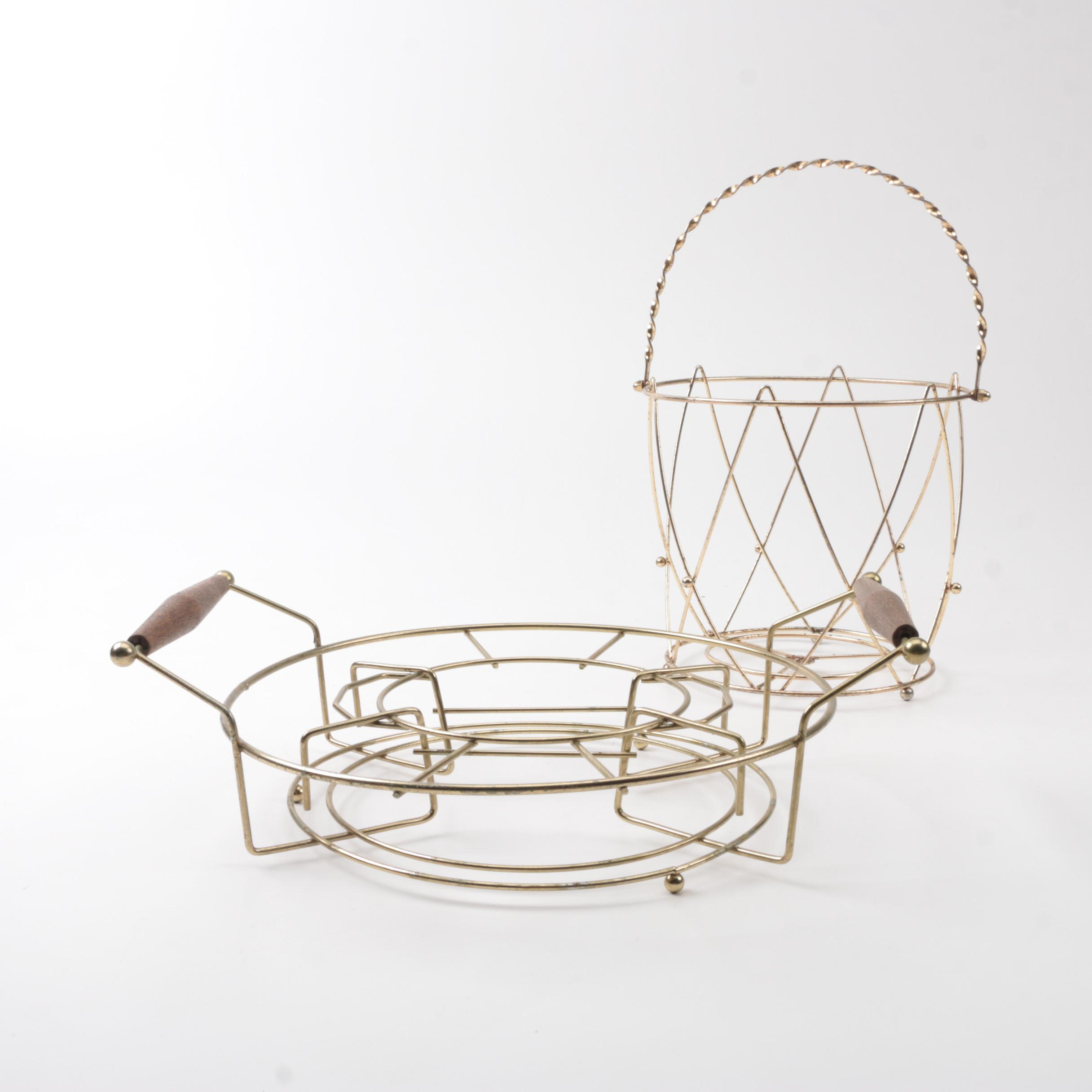 Mid-Century Modern Chip and Dip Stand and Basket